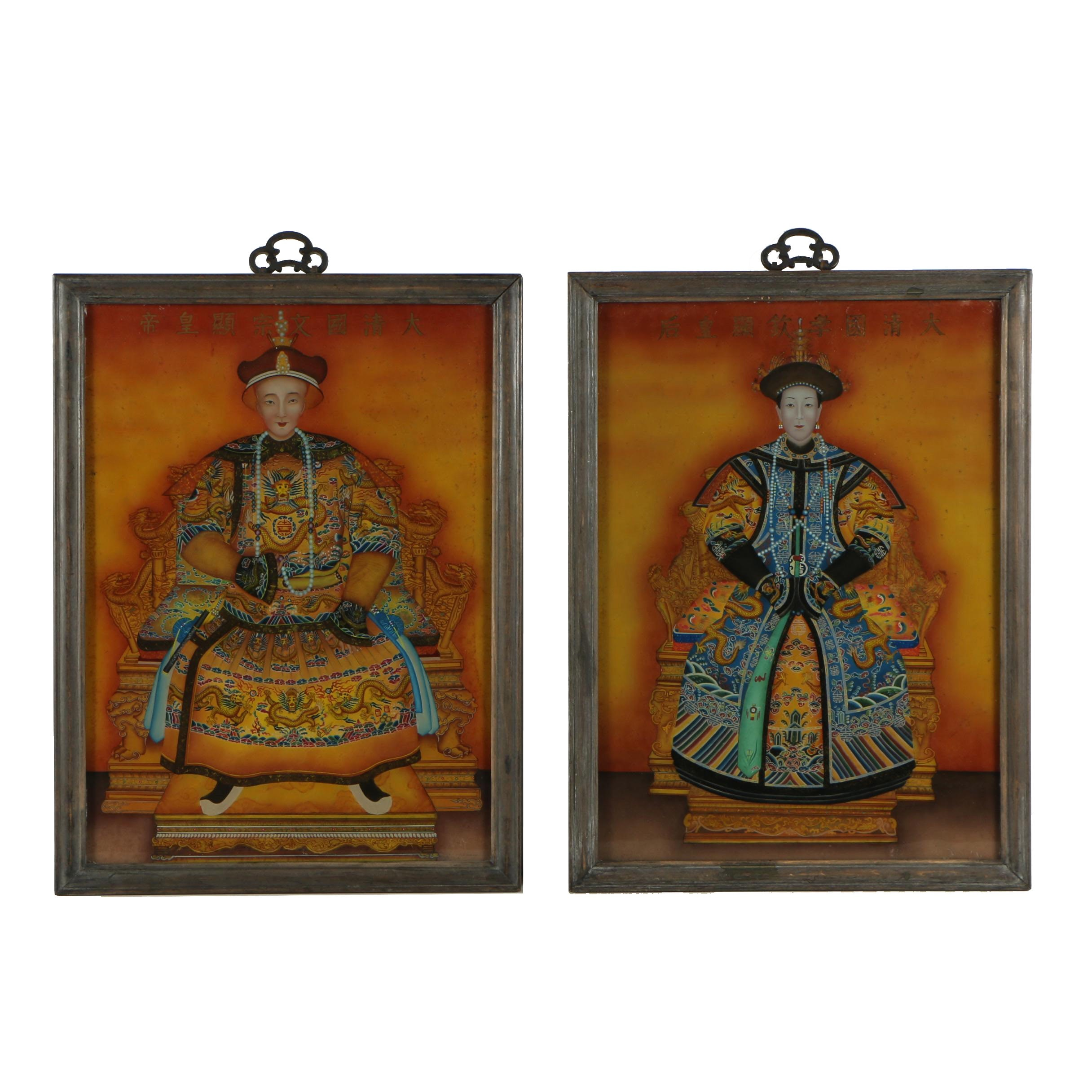 Reverse Glass Chinese Ancestor Portrait Oil Paintings