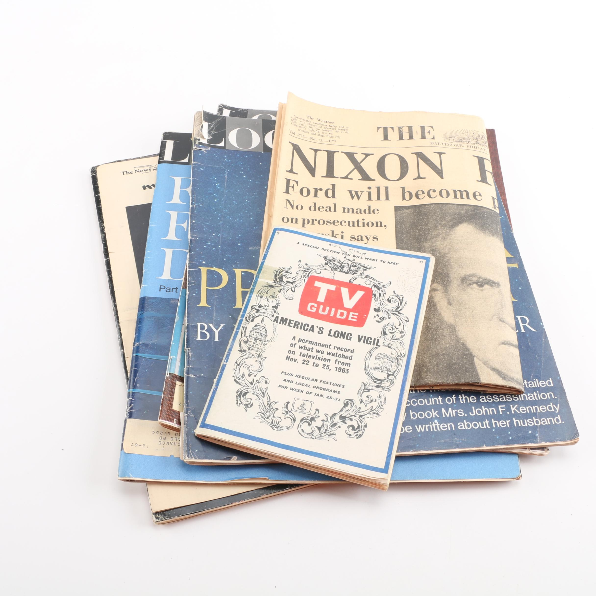 Commemorative Magazines and Newspapers of JFK and Resignation of Nixon