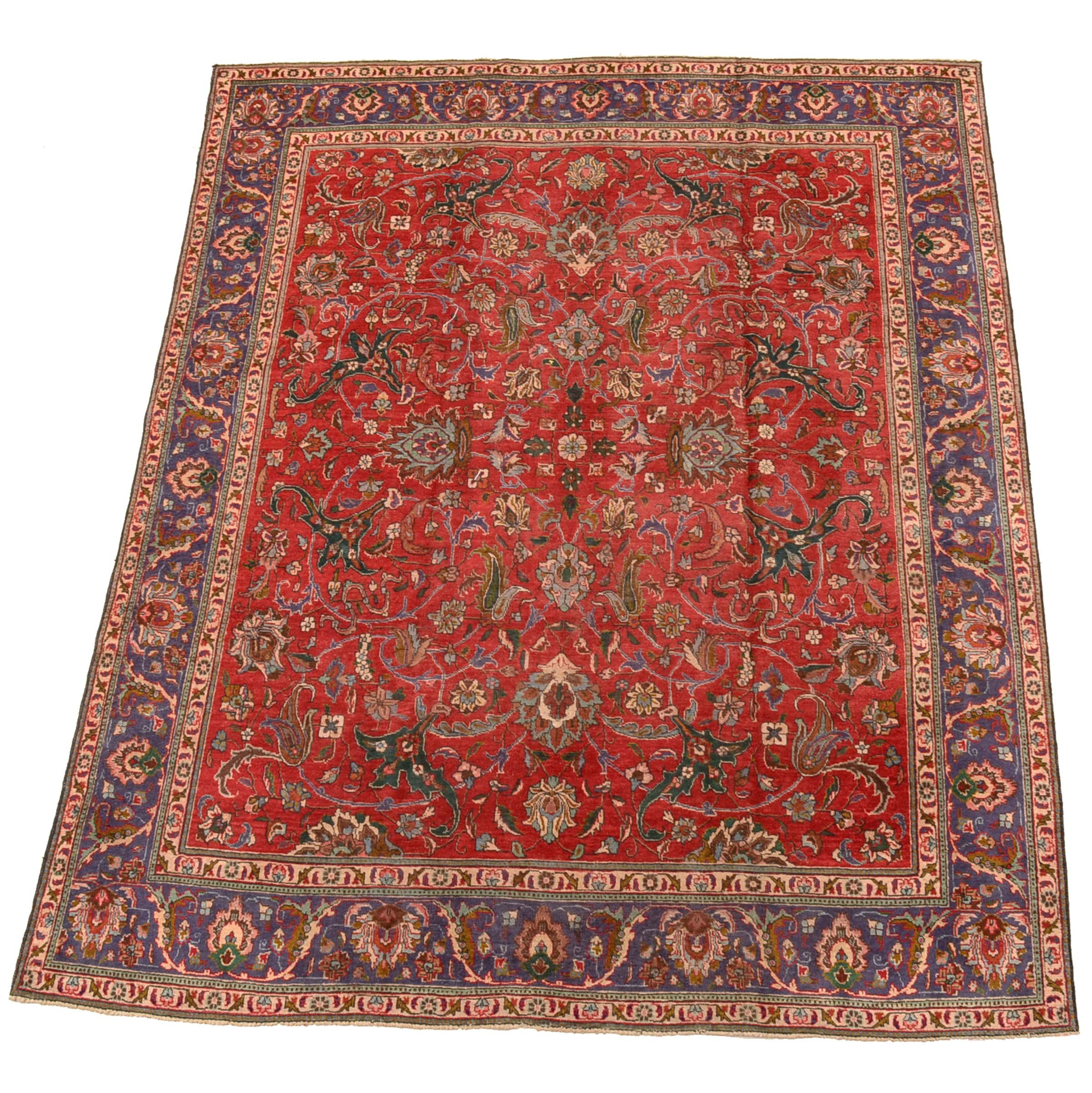 Hand-Knotted Persian Tabriz Area Rug