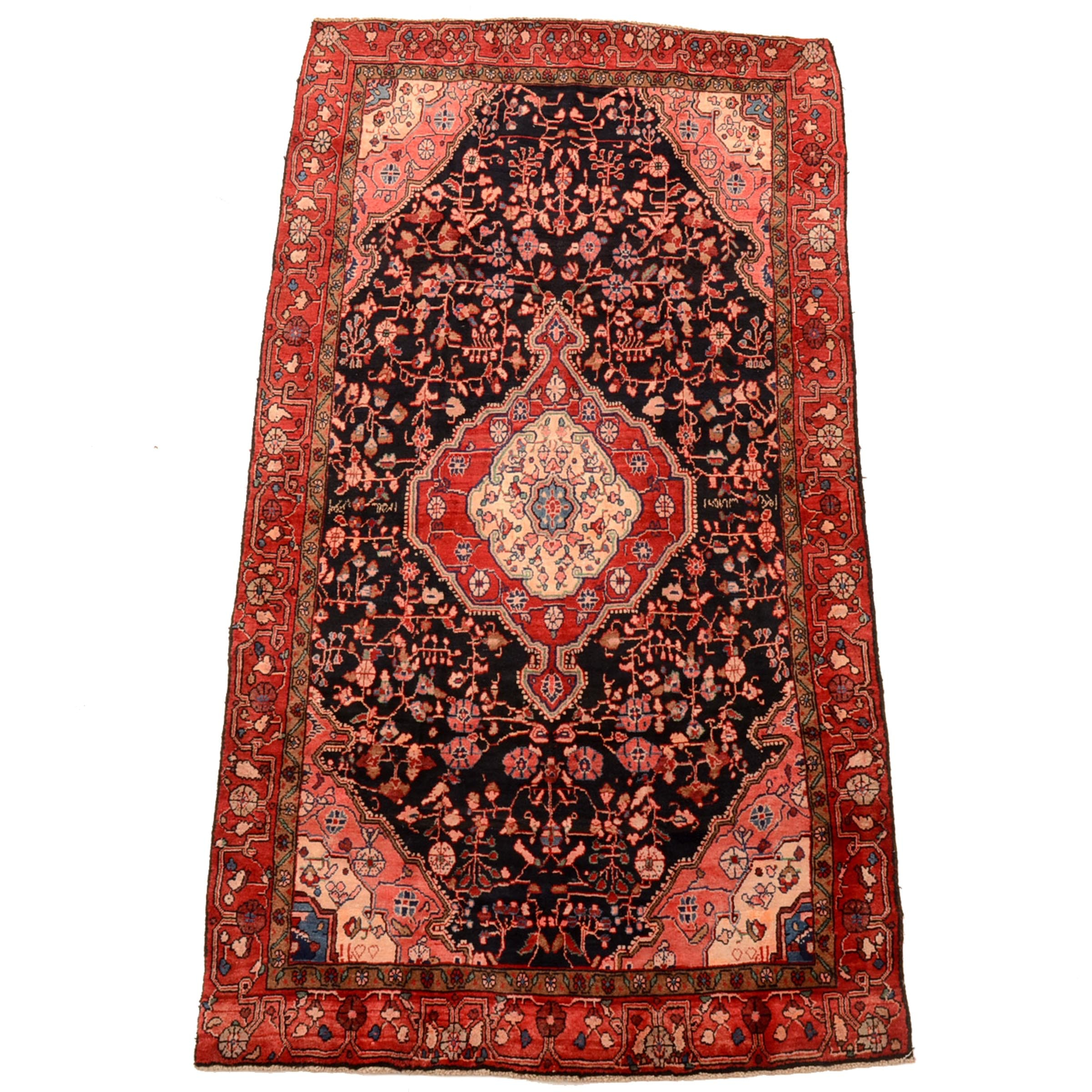 Vintage Inscribed Hand-Knotted Persian Malayer Area Rug
