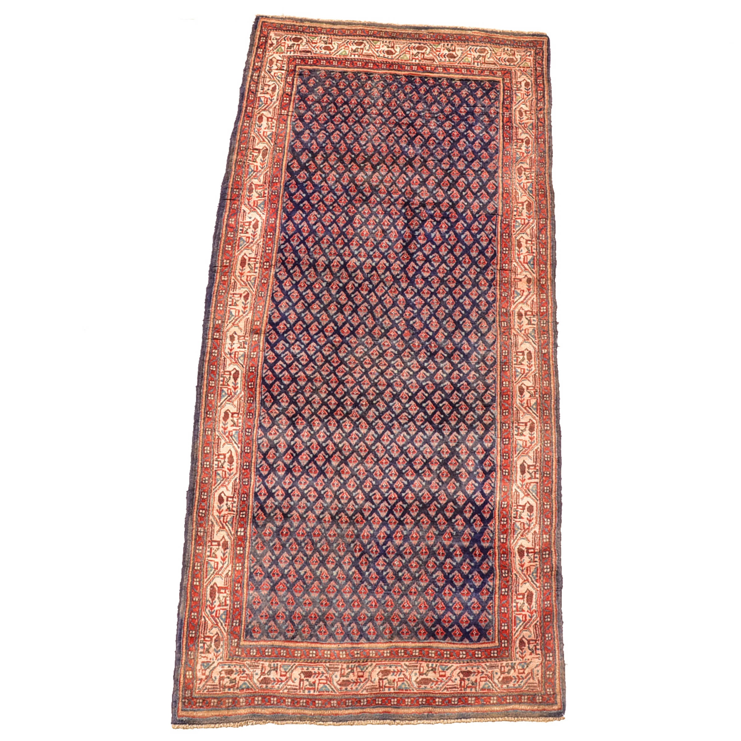 Vintage Hand-Knotted Persian Mir-A-Boteh Area Rug