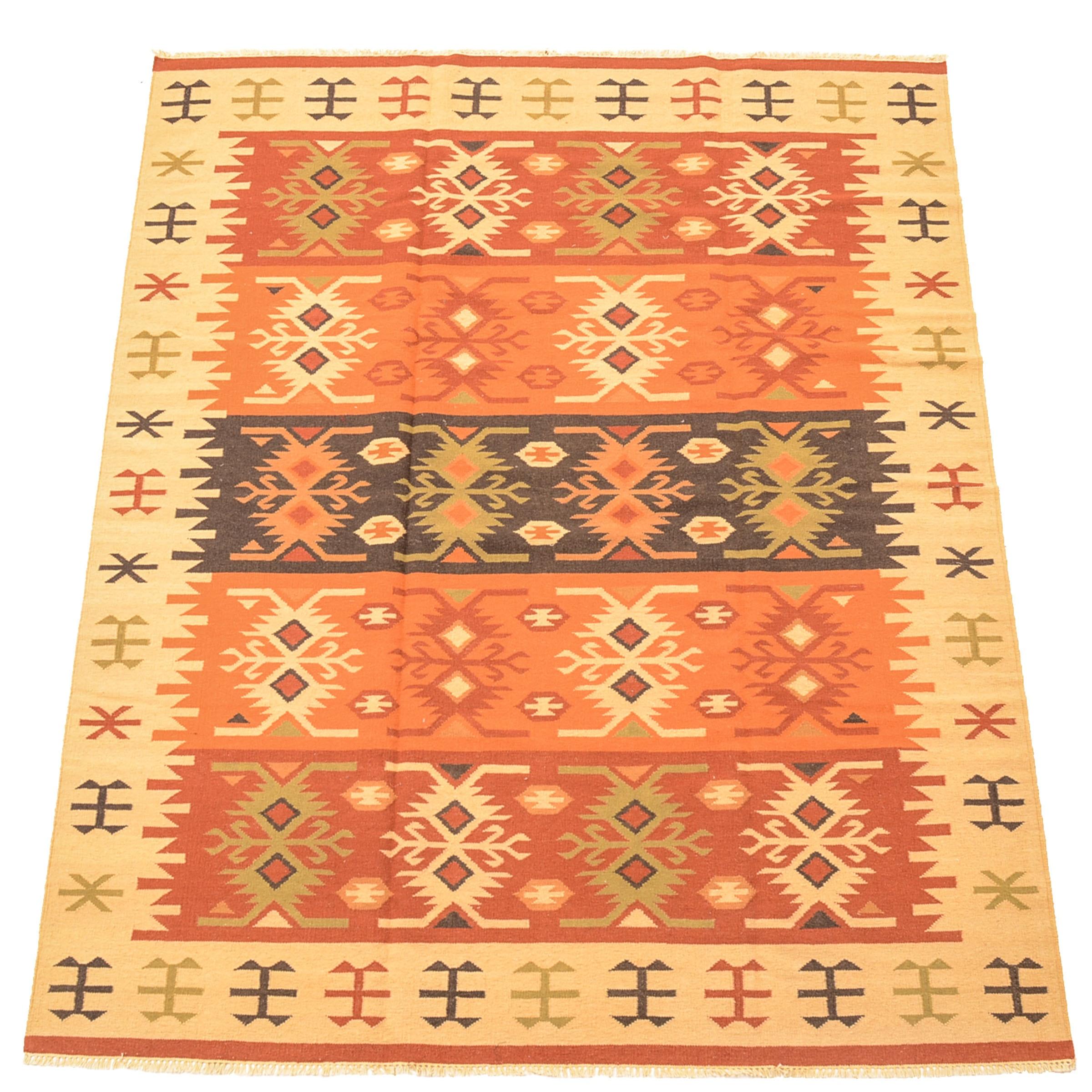 Hand-Woven Azerbaijan Kilim Room-Size Rug