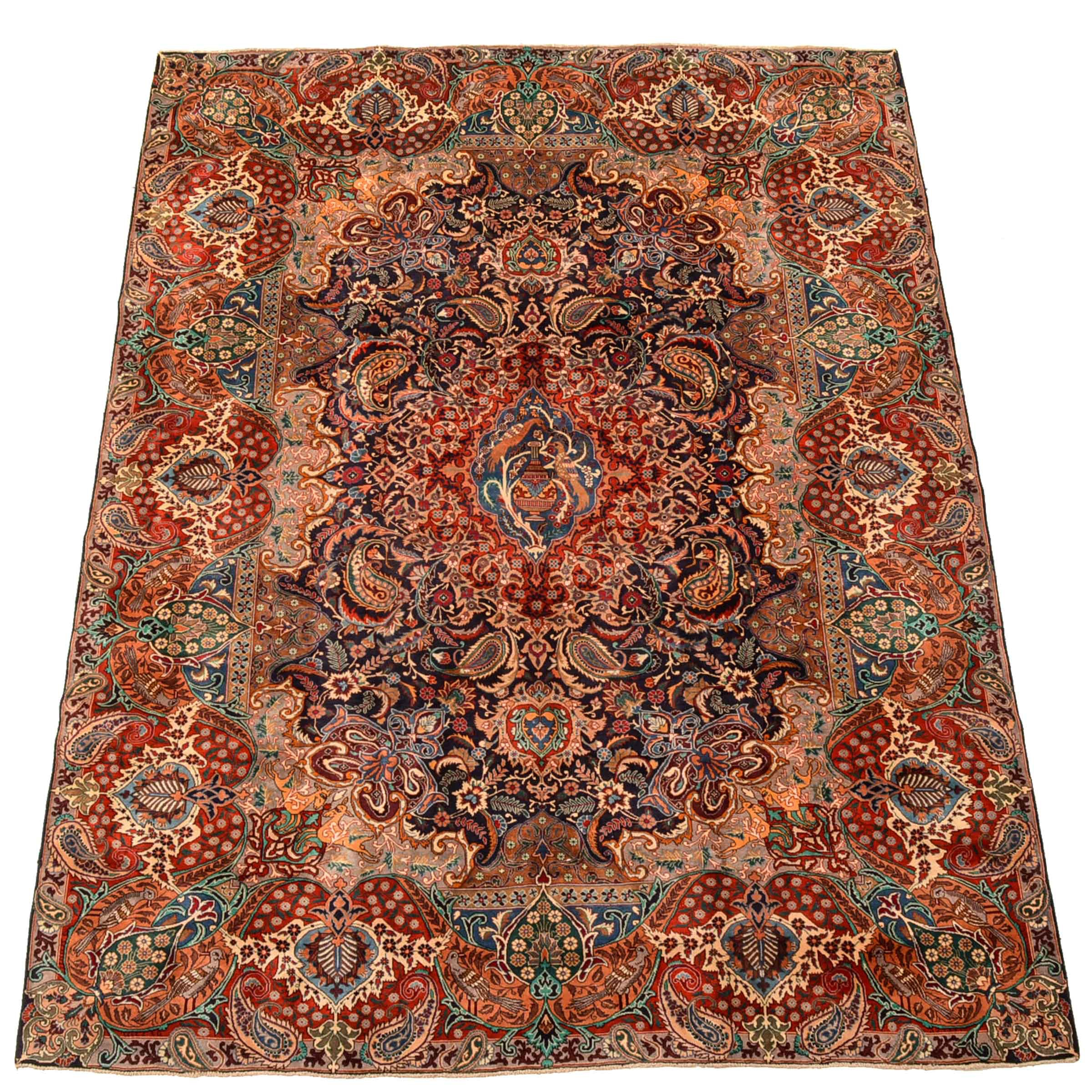 Vintage Hand-Knotted Persian Pictorial Kashan Room-Size Rug