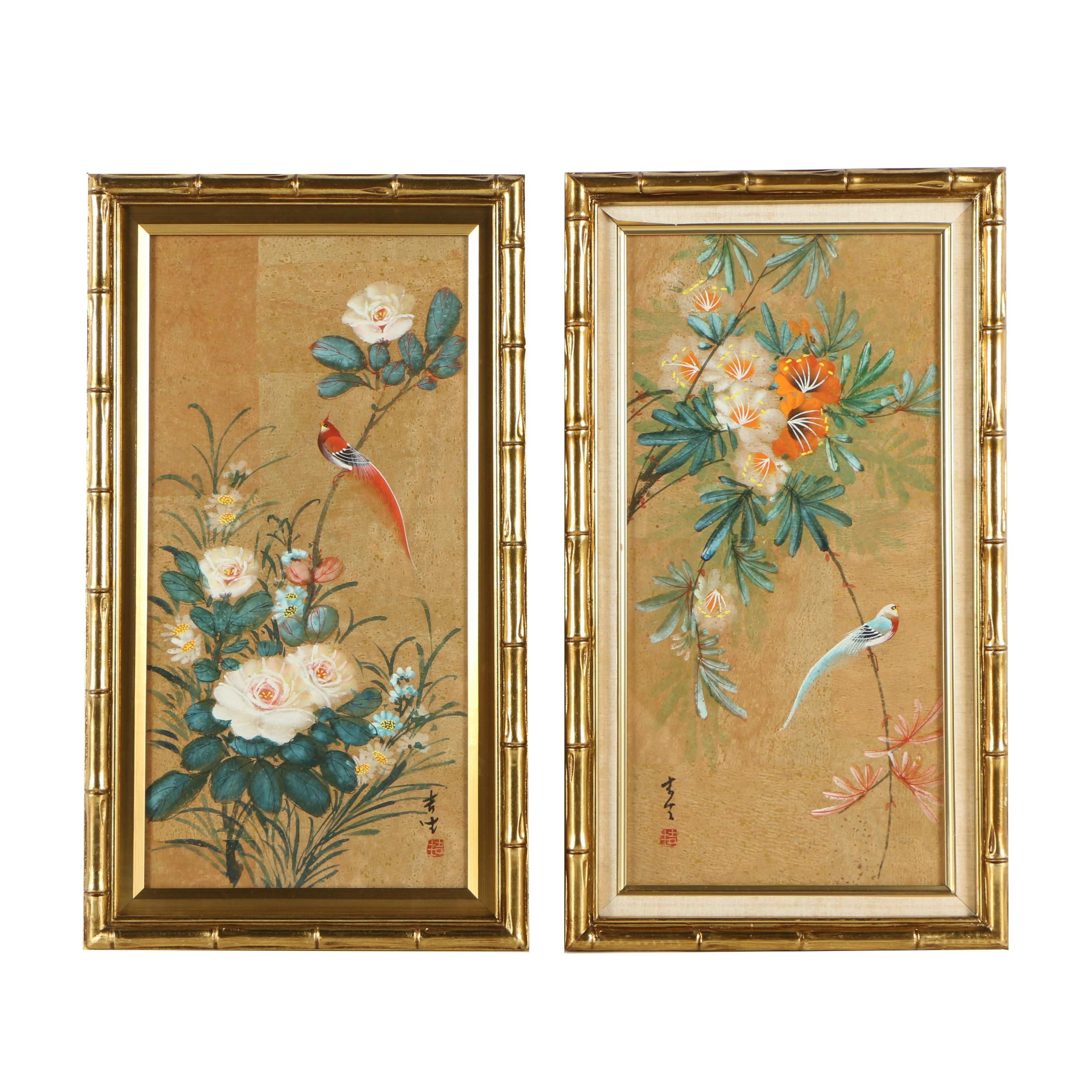 Two Chinese Gouache Paintings on Cork