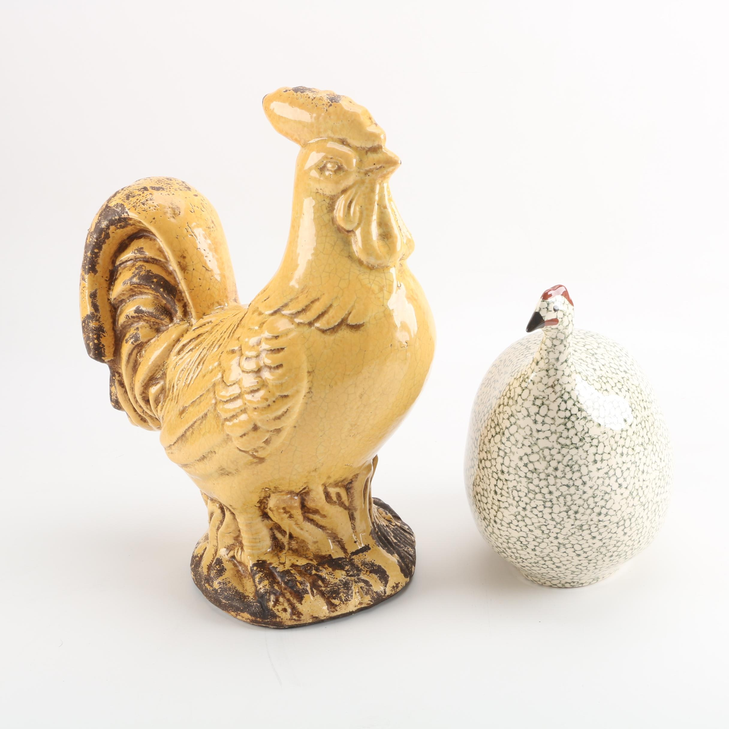 La Pintade Ceramic Guinea Hen and Rooster