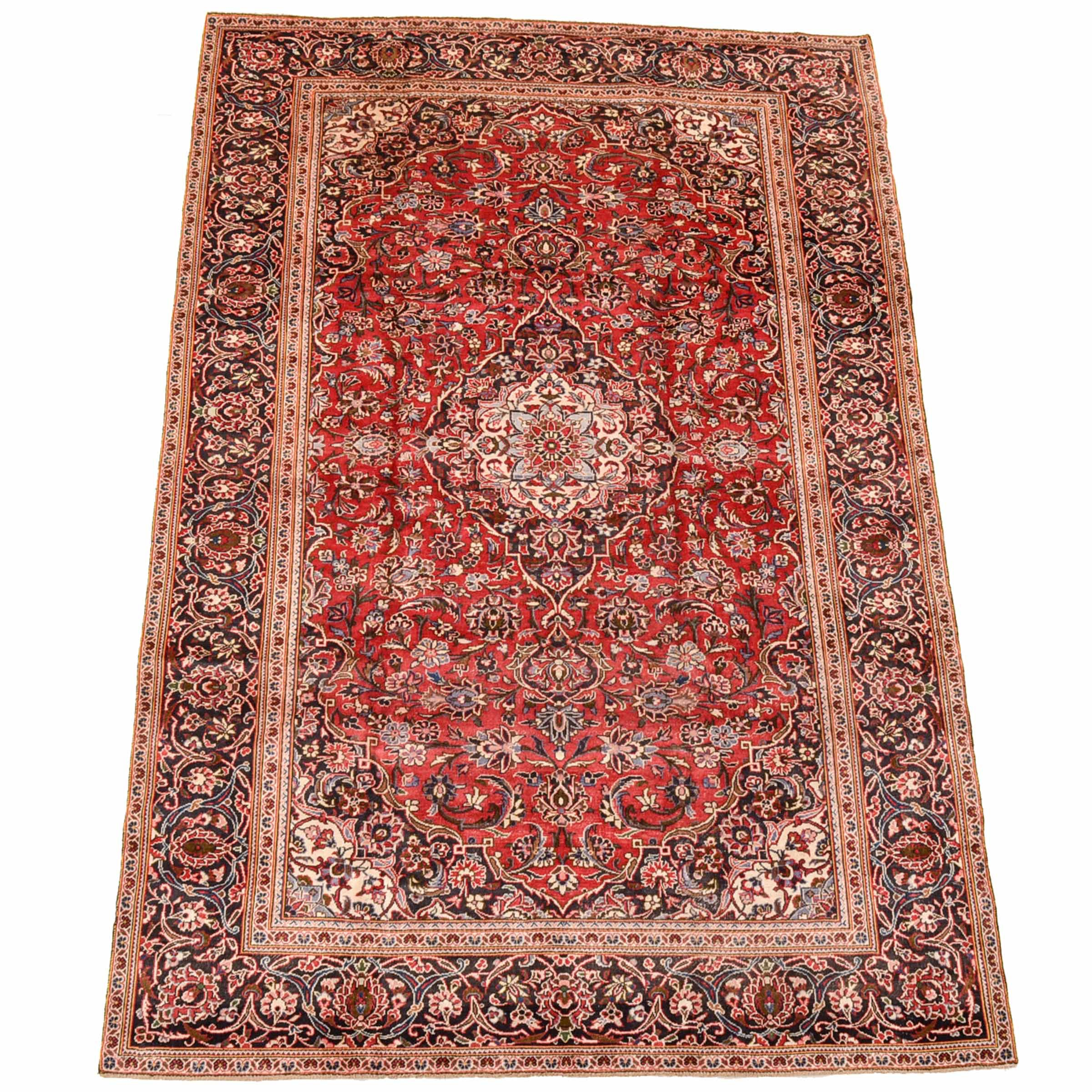 Hand-Knotted Persian Kashan Room-Size Rug