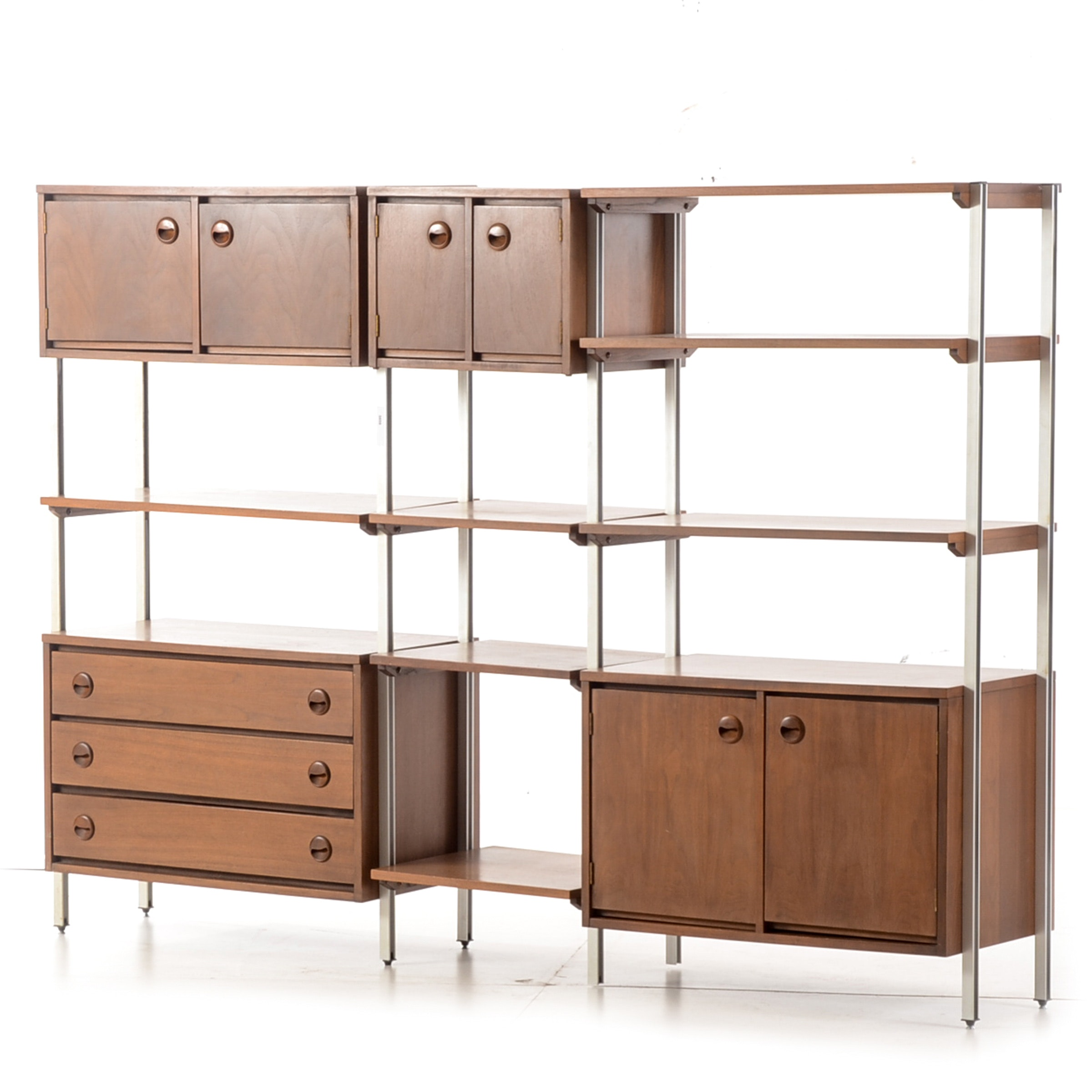 Mid-Century Walnut and Metal Modular Shelving Unit