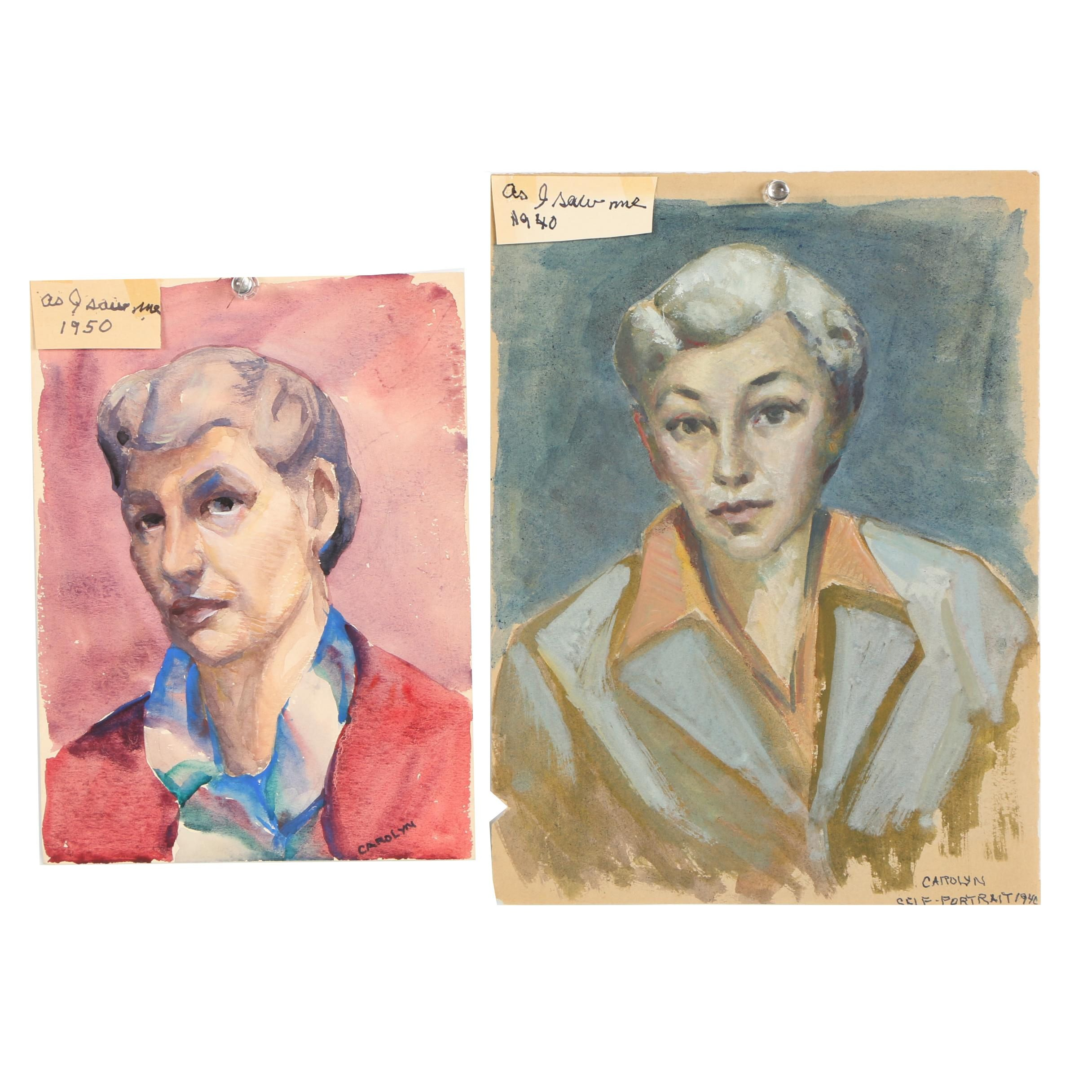 "Carolyn Zimmerman Mid Century Watercolor Self Portraits ""As I Saw Me"""