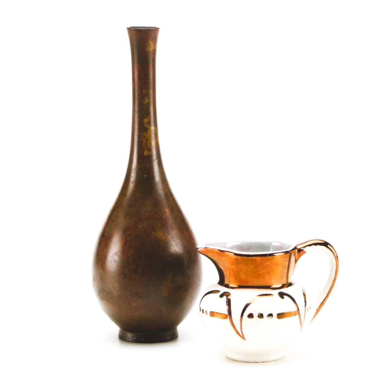 Small Copper Bud Vase and Porcelain Pitcher Marked Lancaster