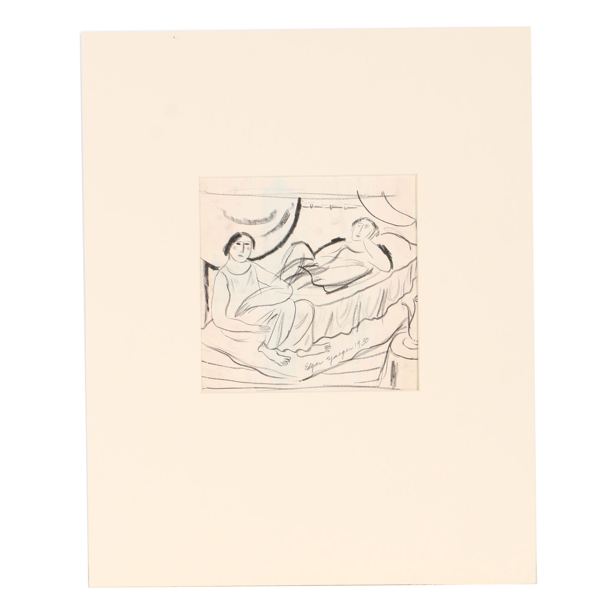 Edgar Yaegar Charcoal Figure Study