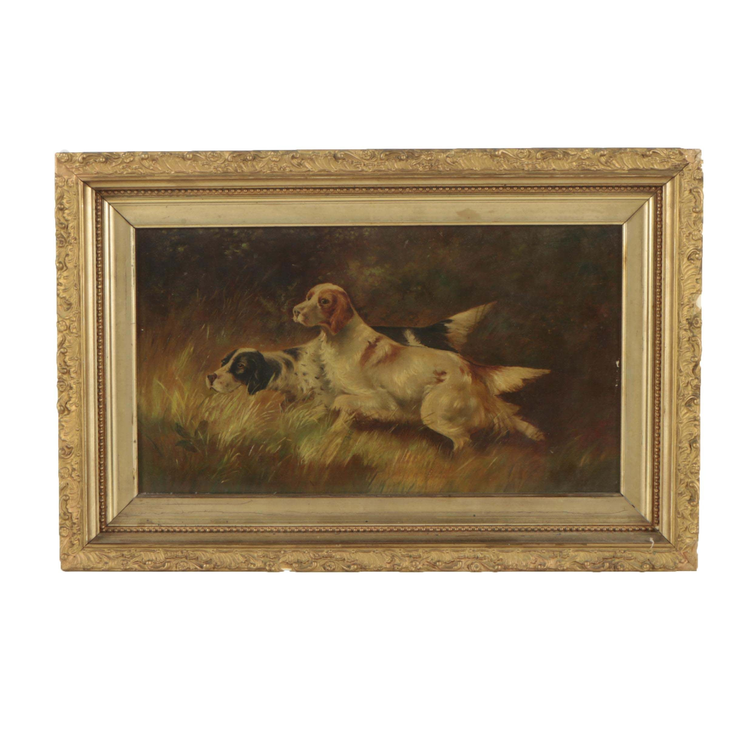 Early 20th Century American Oil Painting of Hunting Dogs
