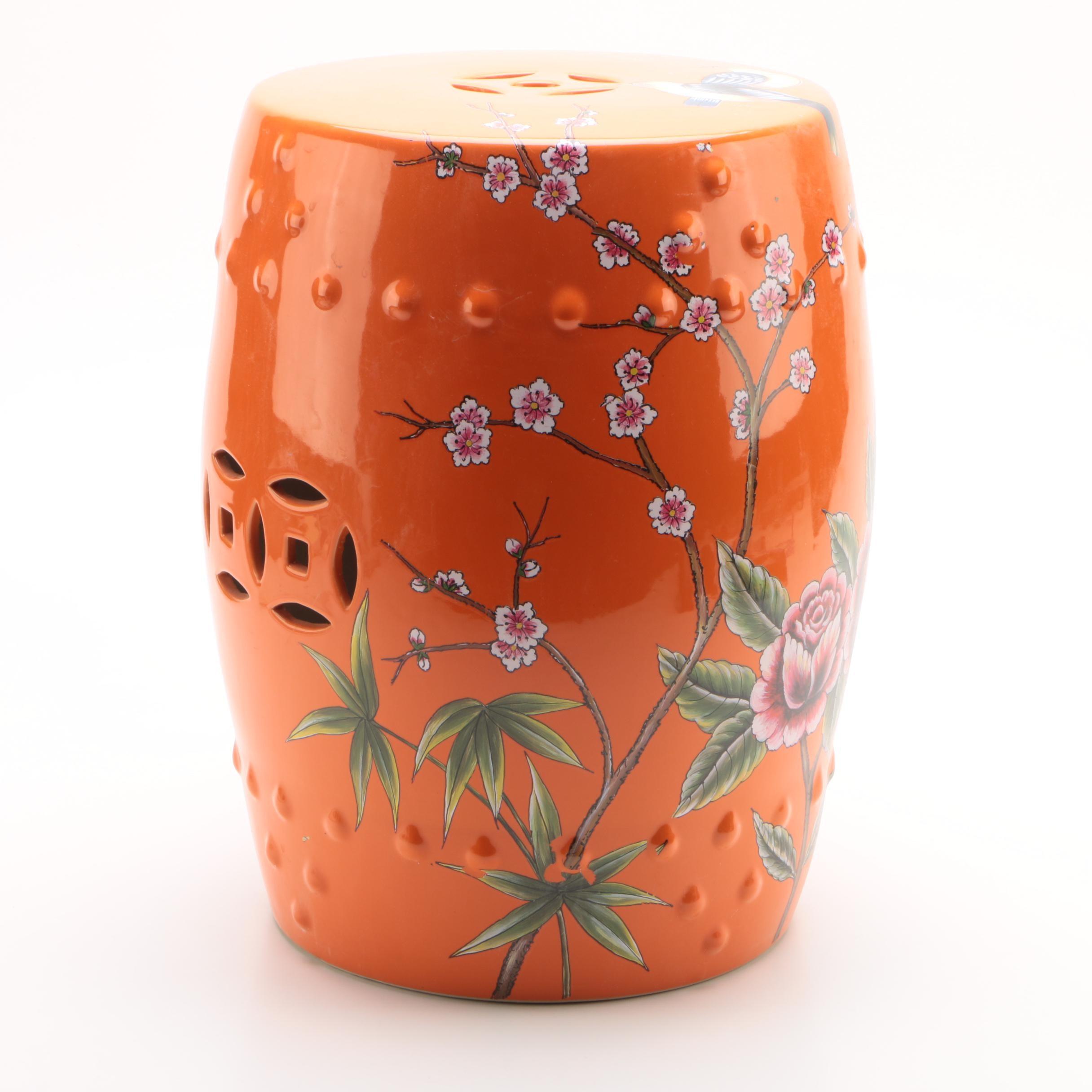 Chinese Orange Ceramic Garden Seat