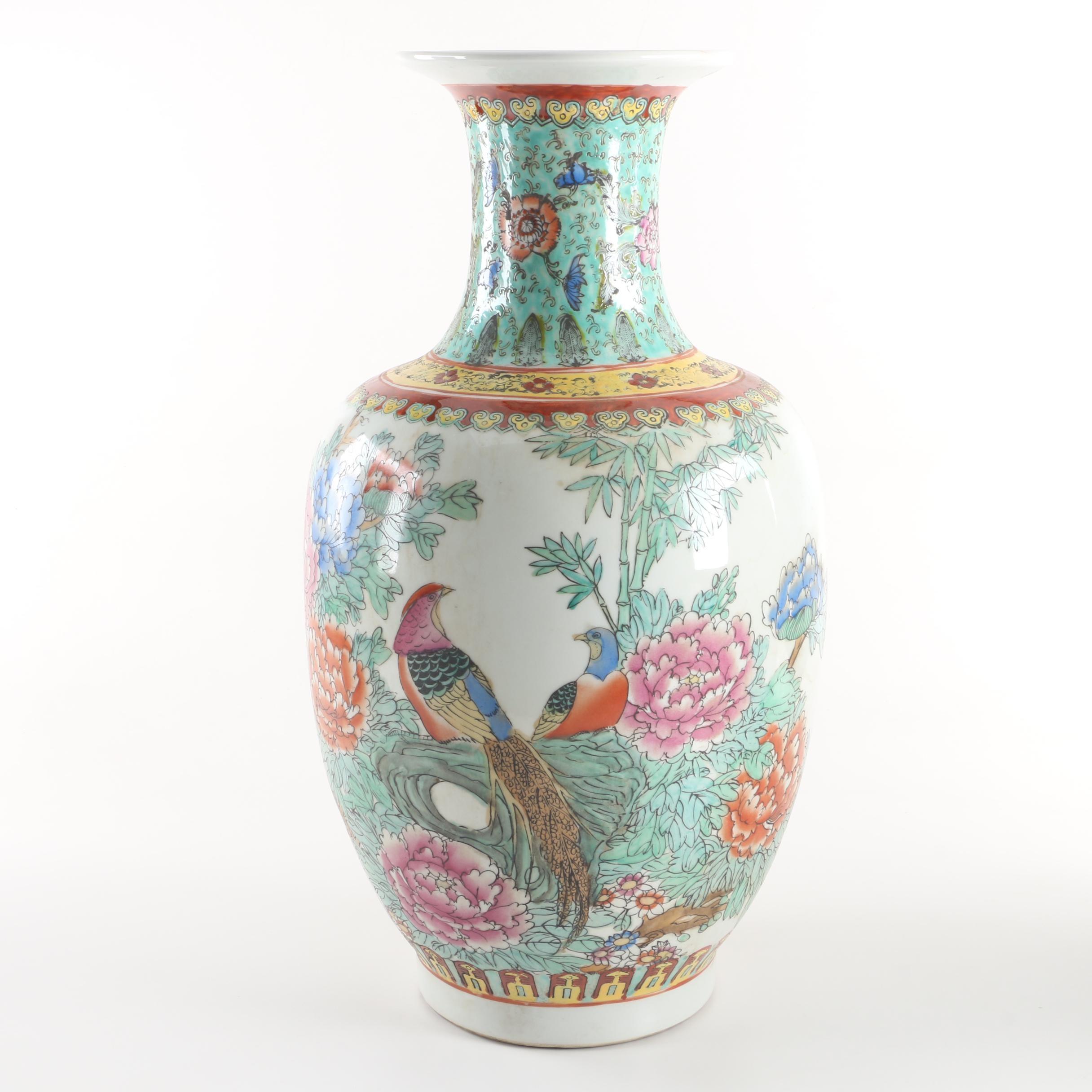 Chinese Flower and Bird Porcelain Floor Vase