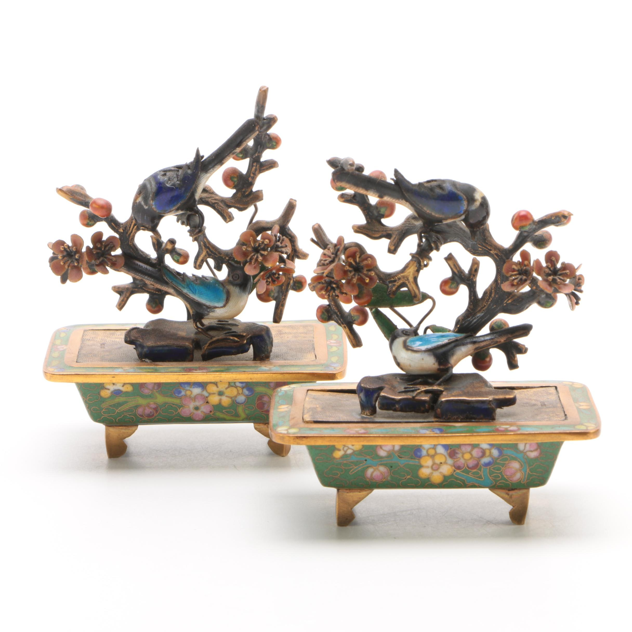 Enameled Cherry Blossom Trees Figurines with Birds and Cloisonné Bases