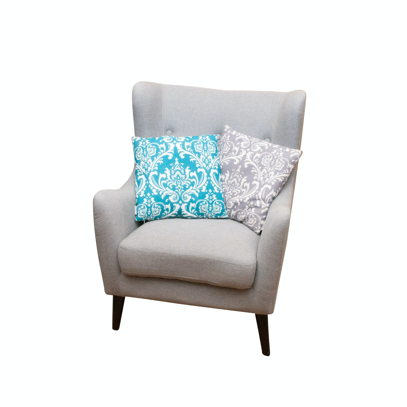 Contemporary Wingback Chair with Accent Pillows