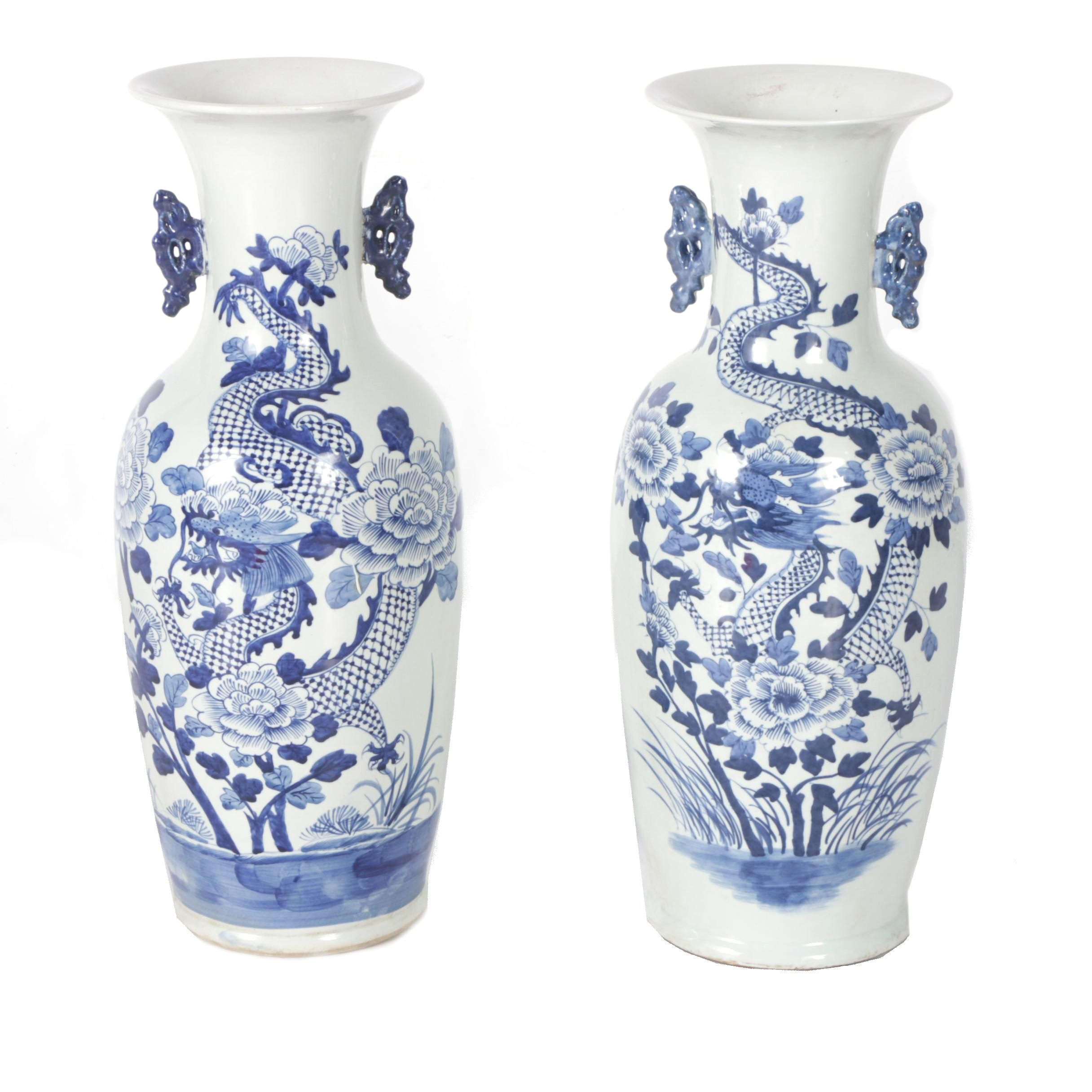 Chinese Blue-and-White Dragon and Peony Motif Floorstanding Vases