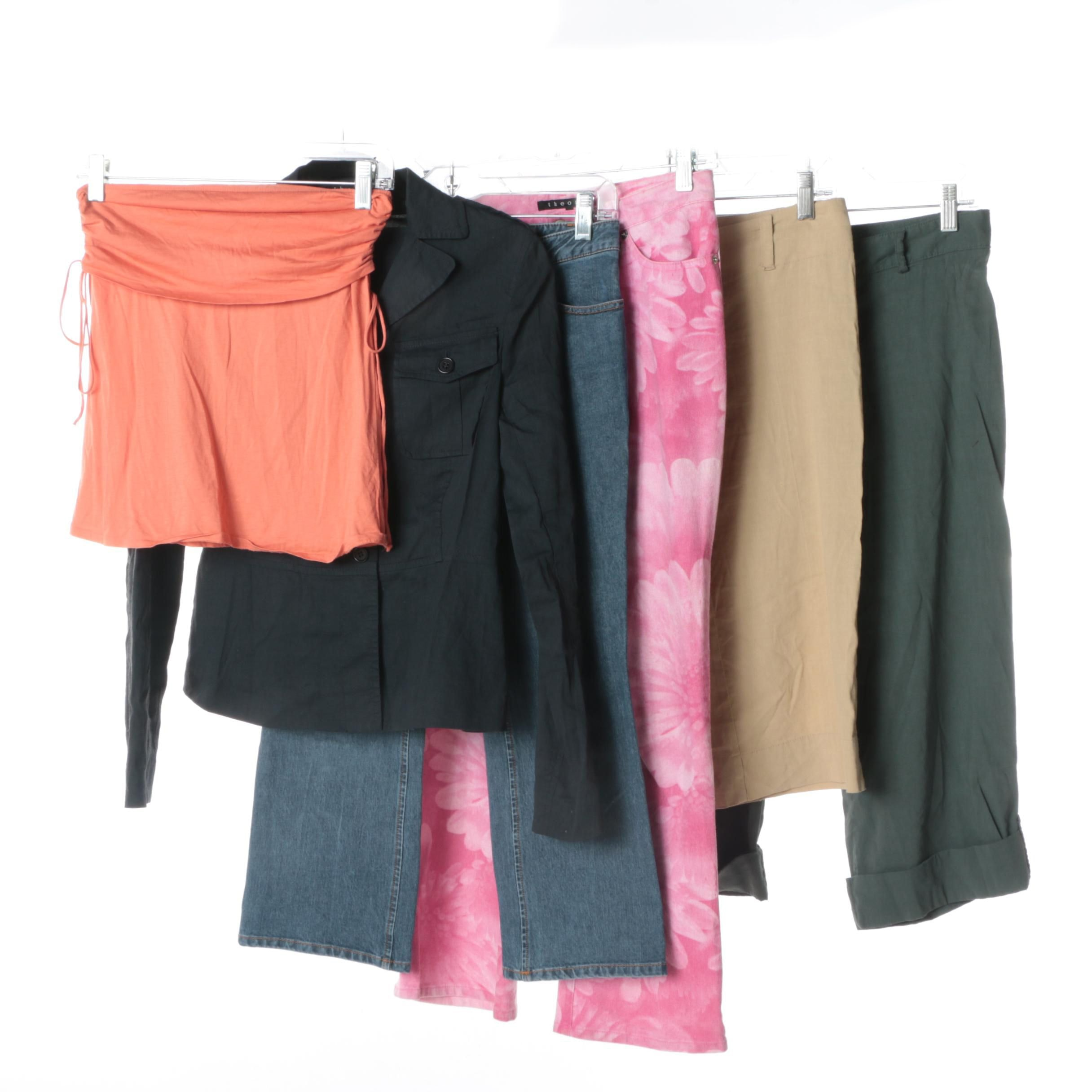 Women's Theory Jacket, Tube Top, Pants and Capris