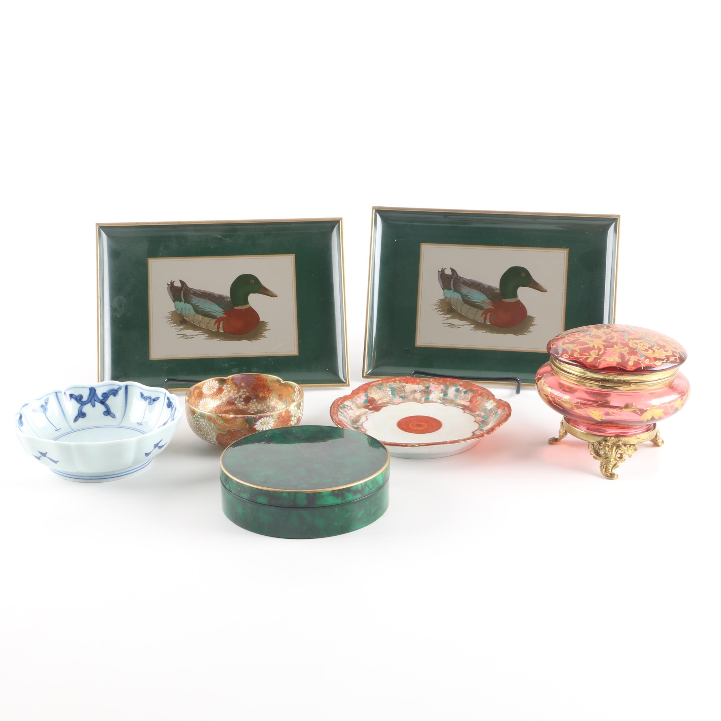 Japanese Decorative Tableware Including Otagiri Lacquered Trays and Coasters