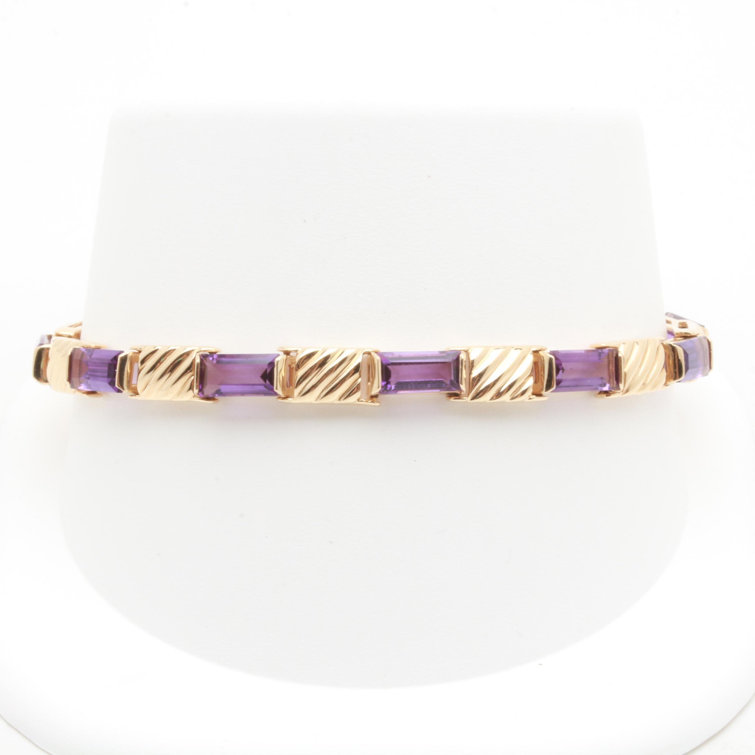 14K Yellow Gold Amethyst Bracelet