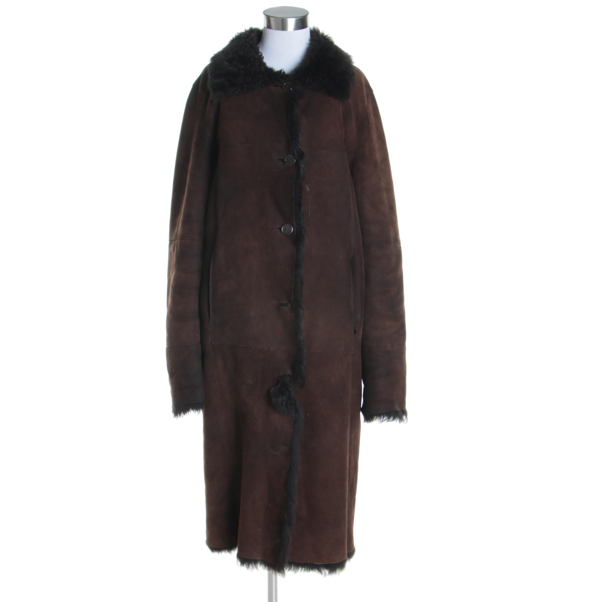 Women's Vintage Dominic Bellissimo Dark Brown Sheepskin Coat