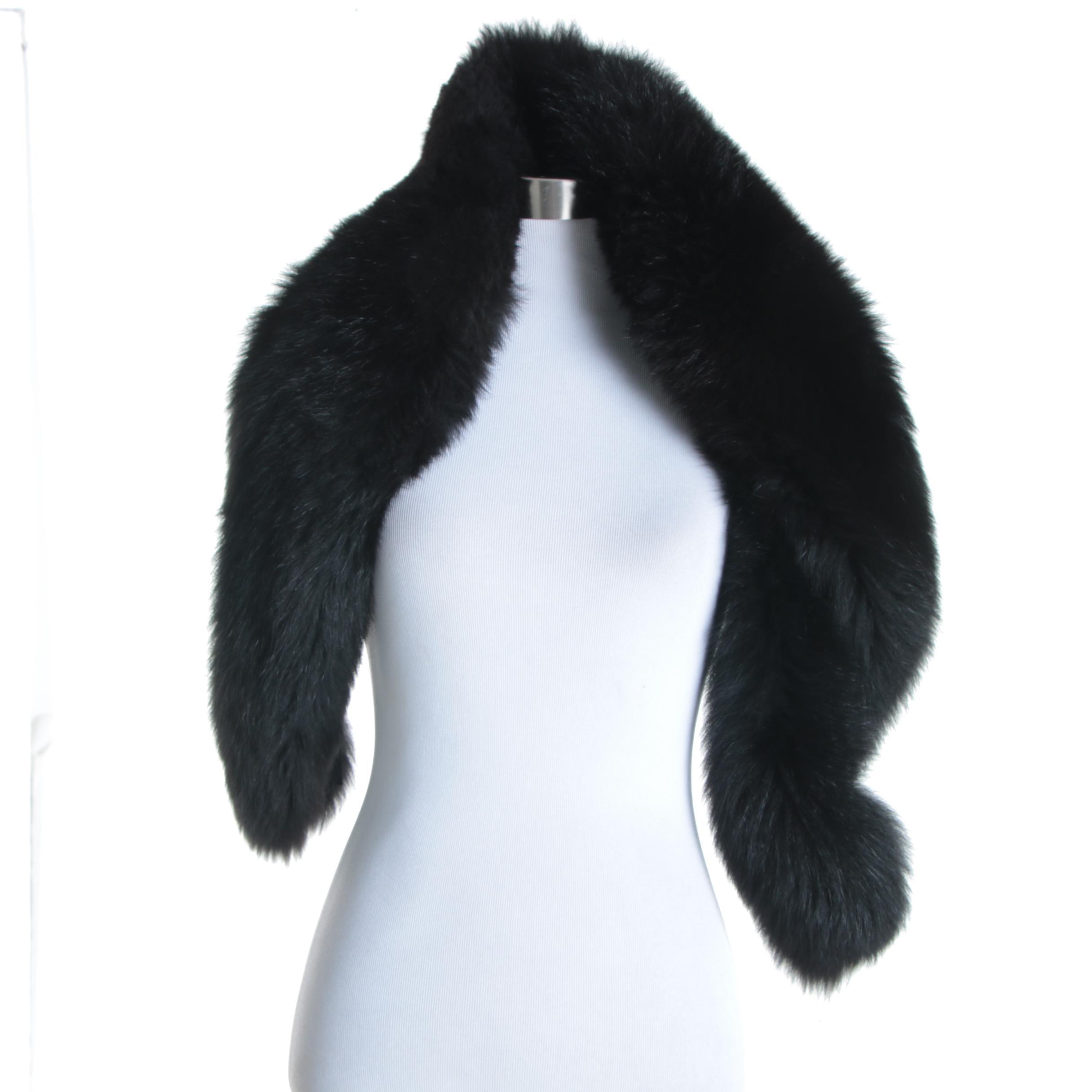 Women's Black Faux Fox Fur Stole