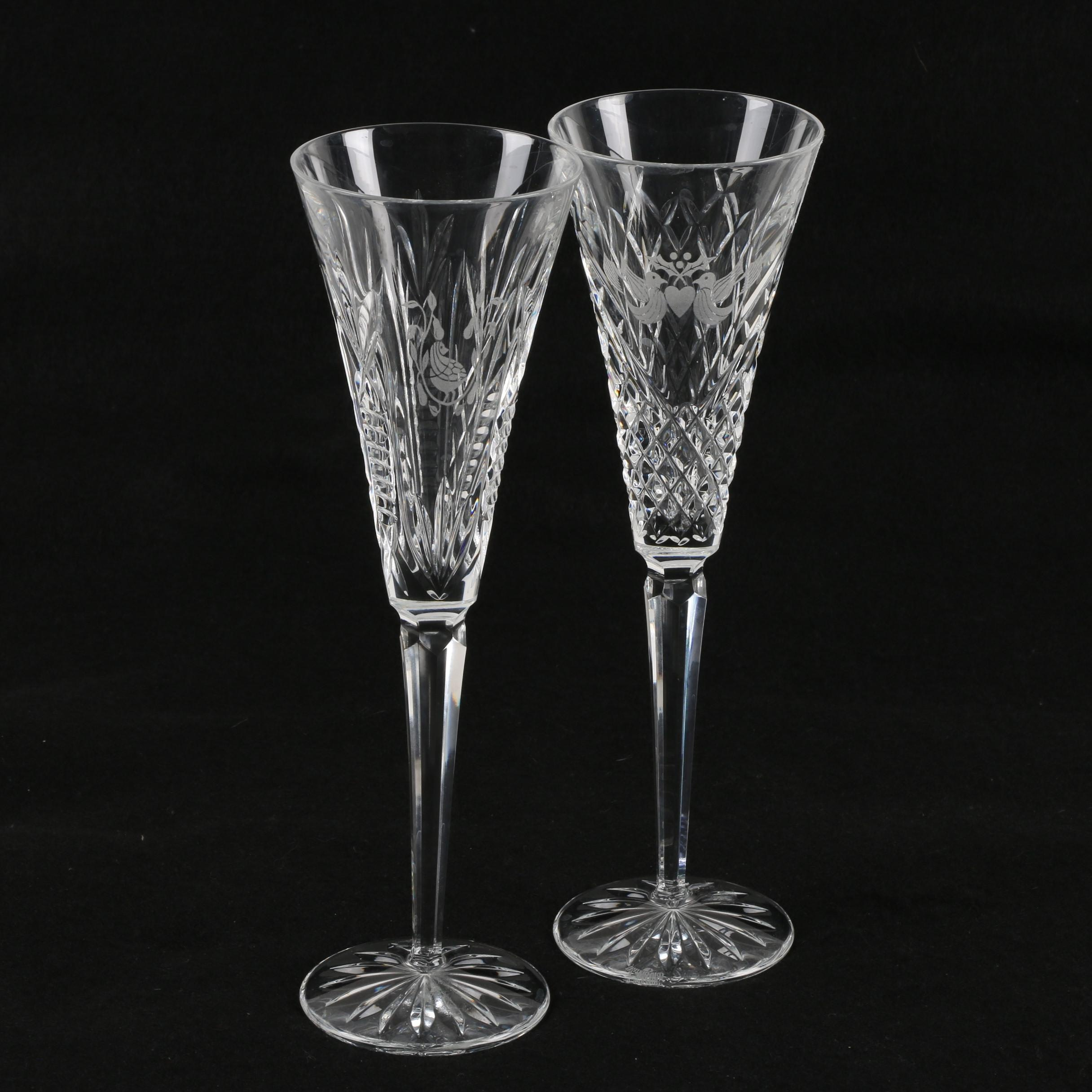 """Waterford Crystal """"Twelve Days of Christmas"""" Champagne Flutes"""