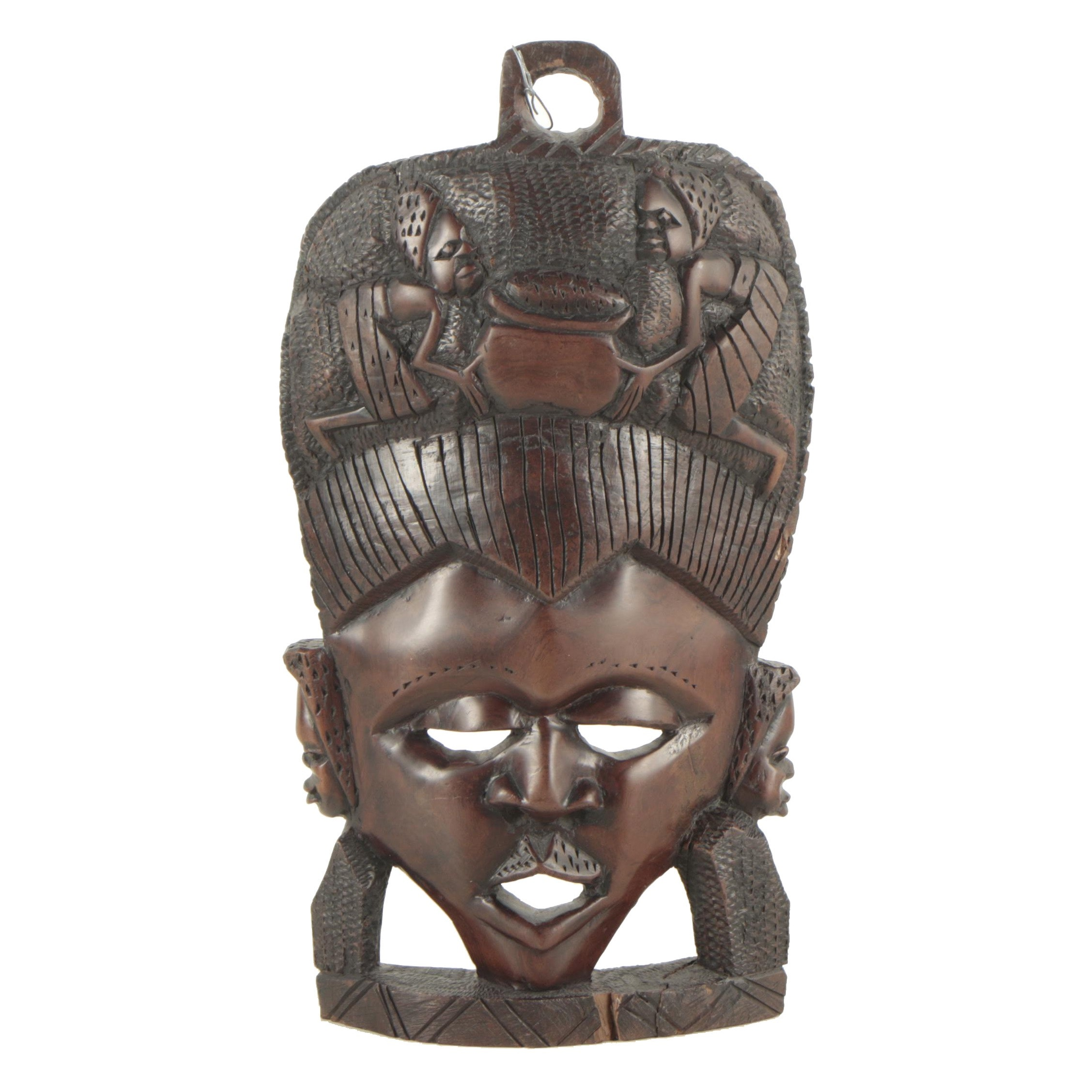 East African Style Carved Wood Mask