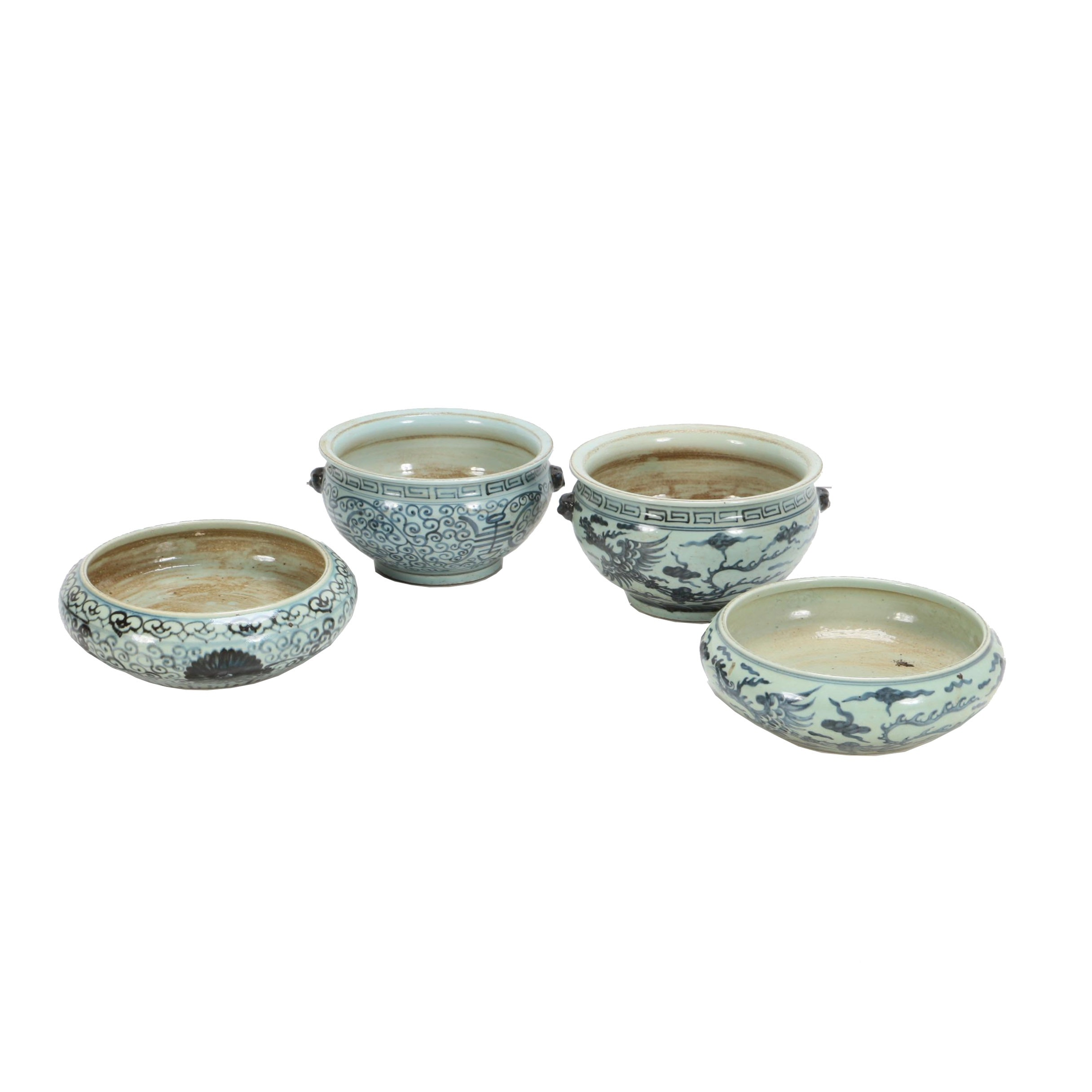 Chinese Hand-Painted Blue and White Porcelain Alms Bowls and Brush Washers