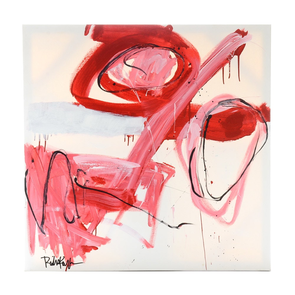 "Robbie Kemper Original Abstract Acrylic on Canvas ""Reds with Marks"""