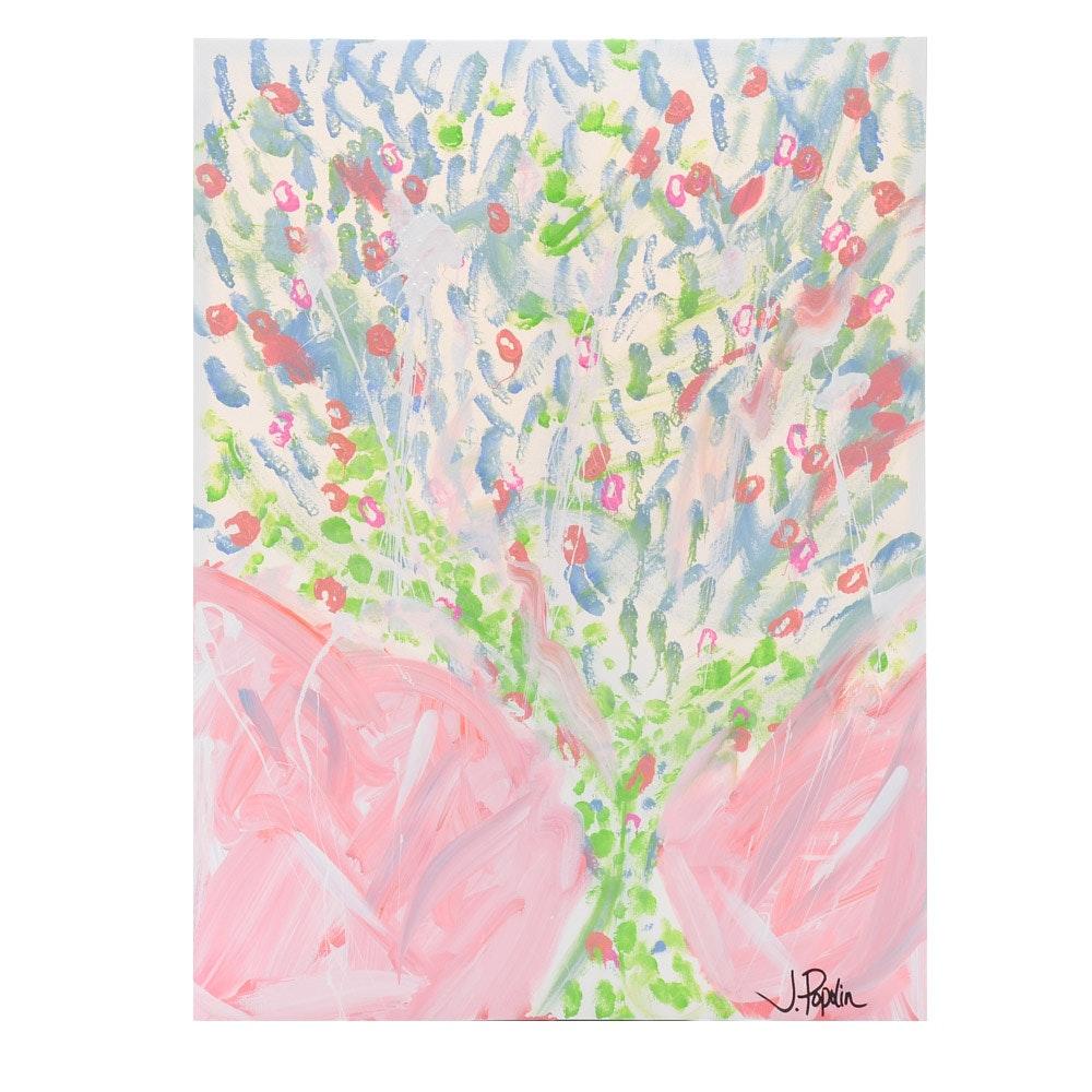 "J. Popolin Original Abstract Acrylic on Canvas ""Blue Green Tree"""