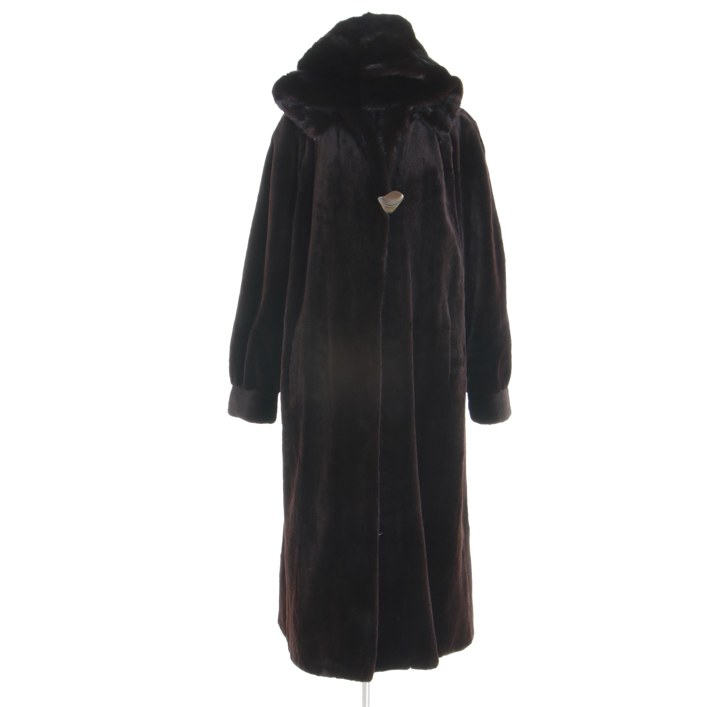 Women's Angelo's Sheared Beaver Fur Coat with Mink Fur Collar and Hood