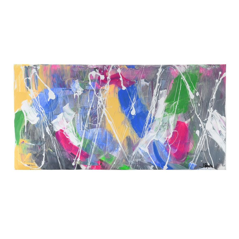 "J. Popolin Original Abstract Acrylic on Canvas ""Spring Celebration"""