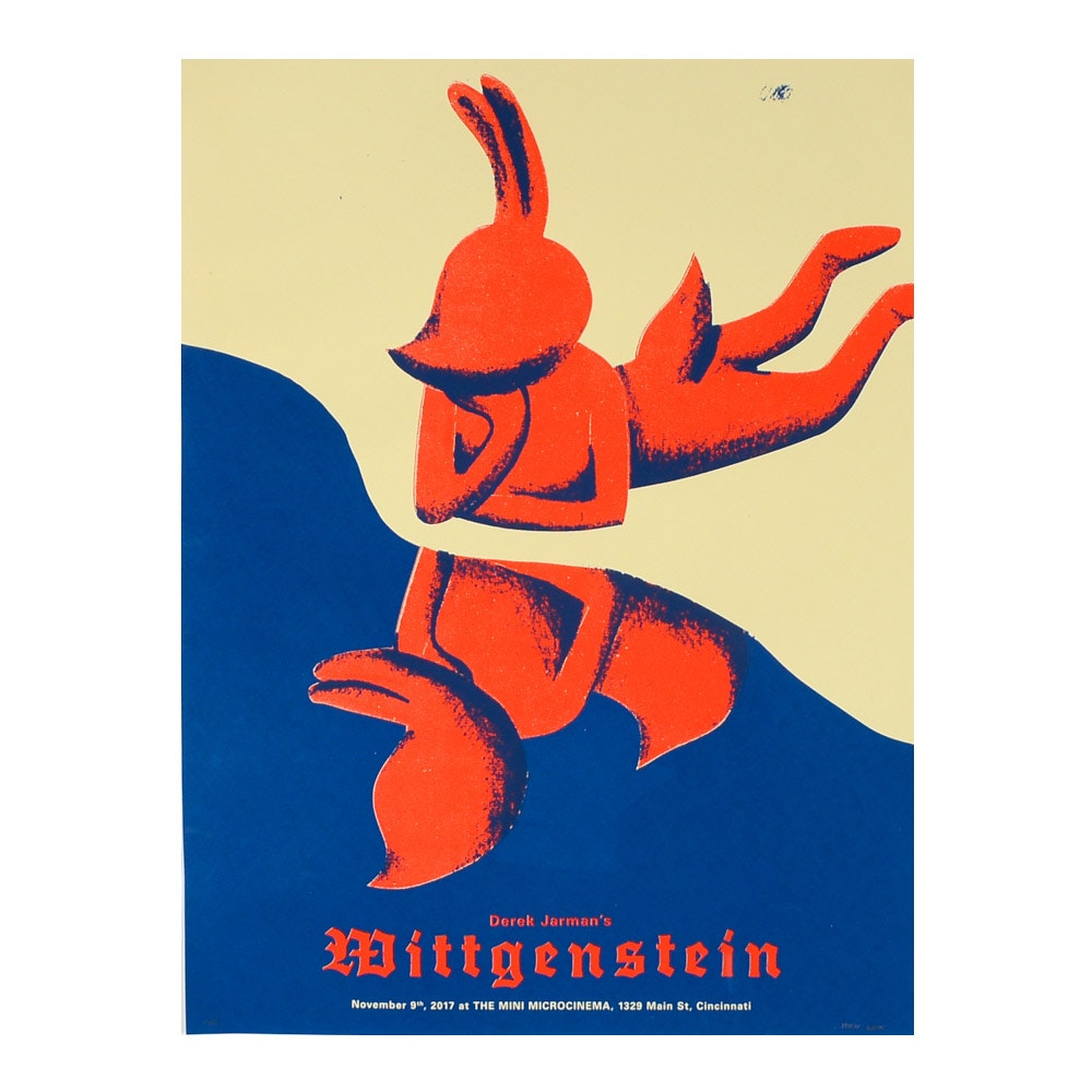 "Philip Valois Serigraph Poster for Screening of Derek Jarman's ""Wittgenstein"""