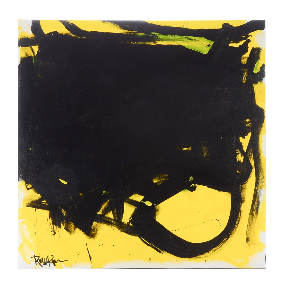 "Robbie Kemper Original Abstract Acrylic on Canvas ""Black Shape Curve on Yellow"""