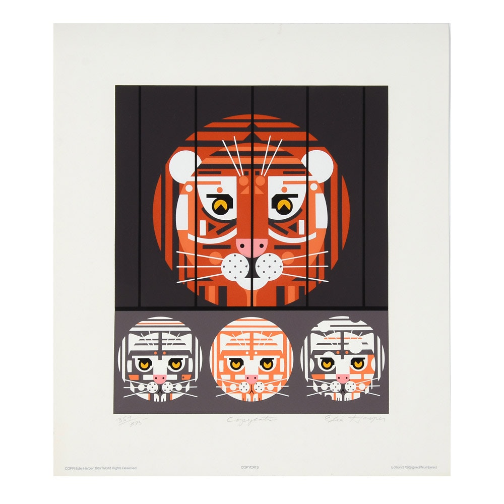 "Edie Harper Signed Limited Edition Serigraph ""Copycats"""