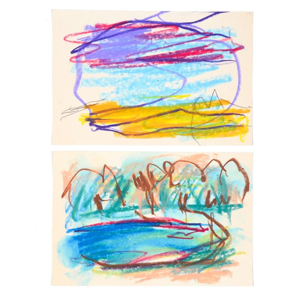 Pair of Paul Chidlaw Original Pastel Drawings