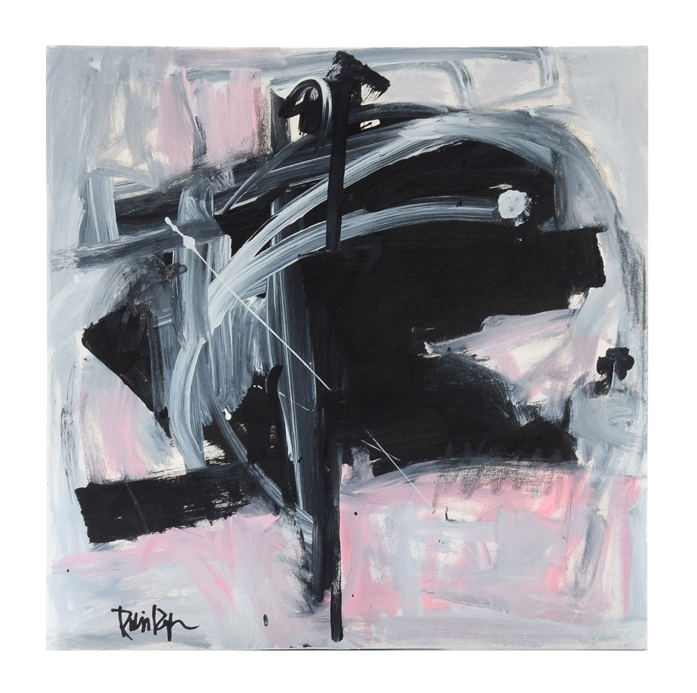 "Robbie Kemper Acrylic Painting on Canvas ""Gray and Pink around Black"""