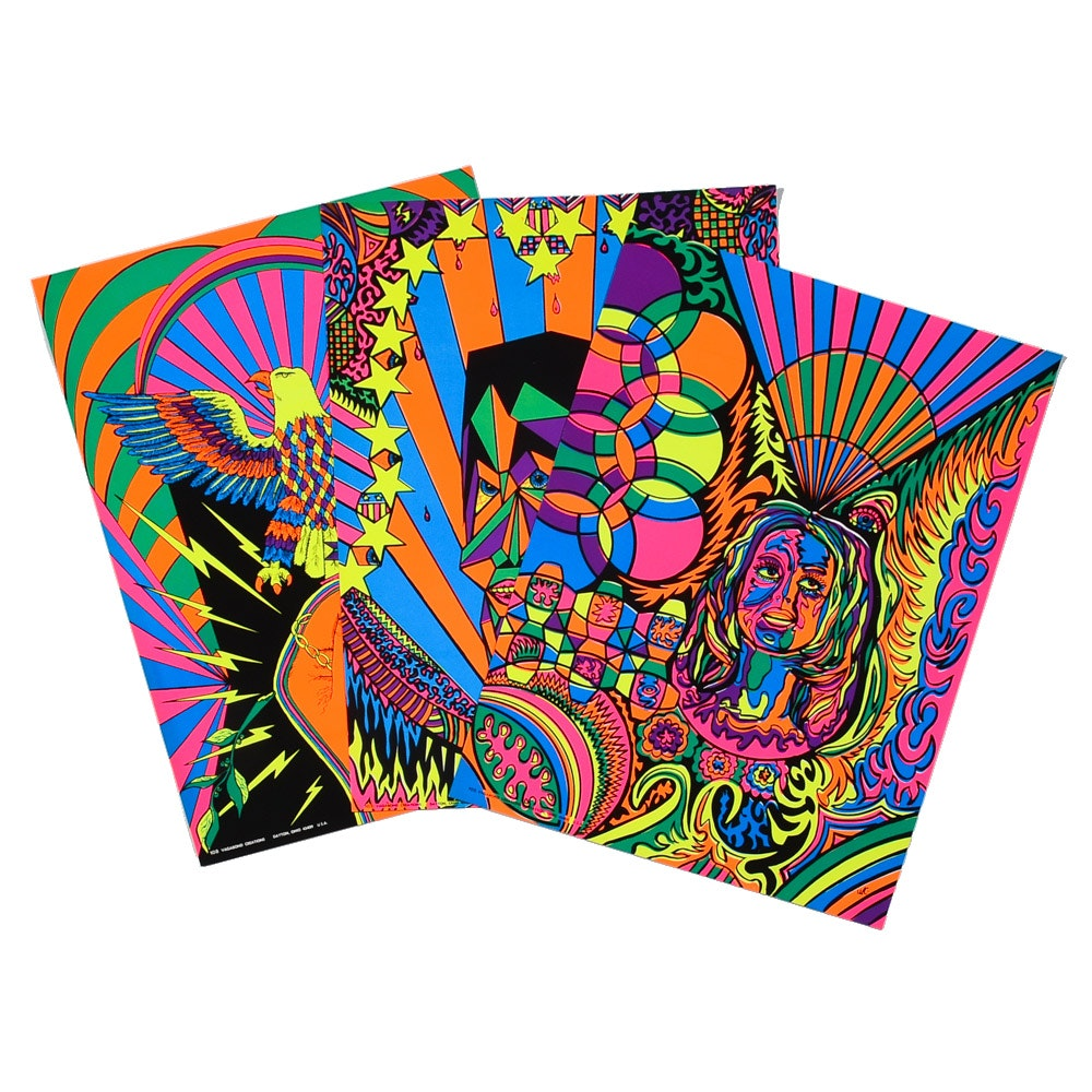 Three Vintage Psychedelic 1970s Era Serigraph Posters