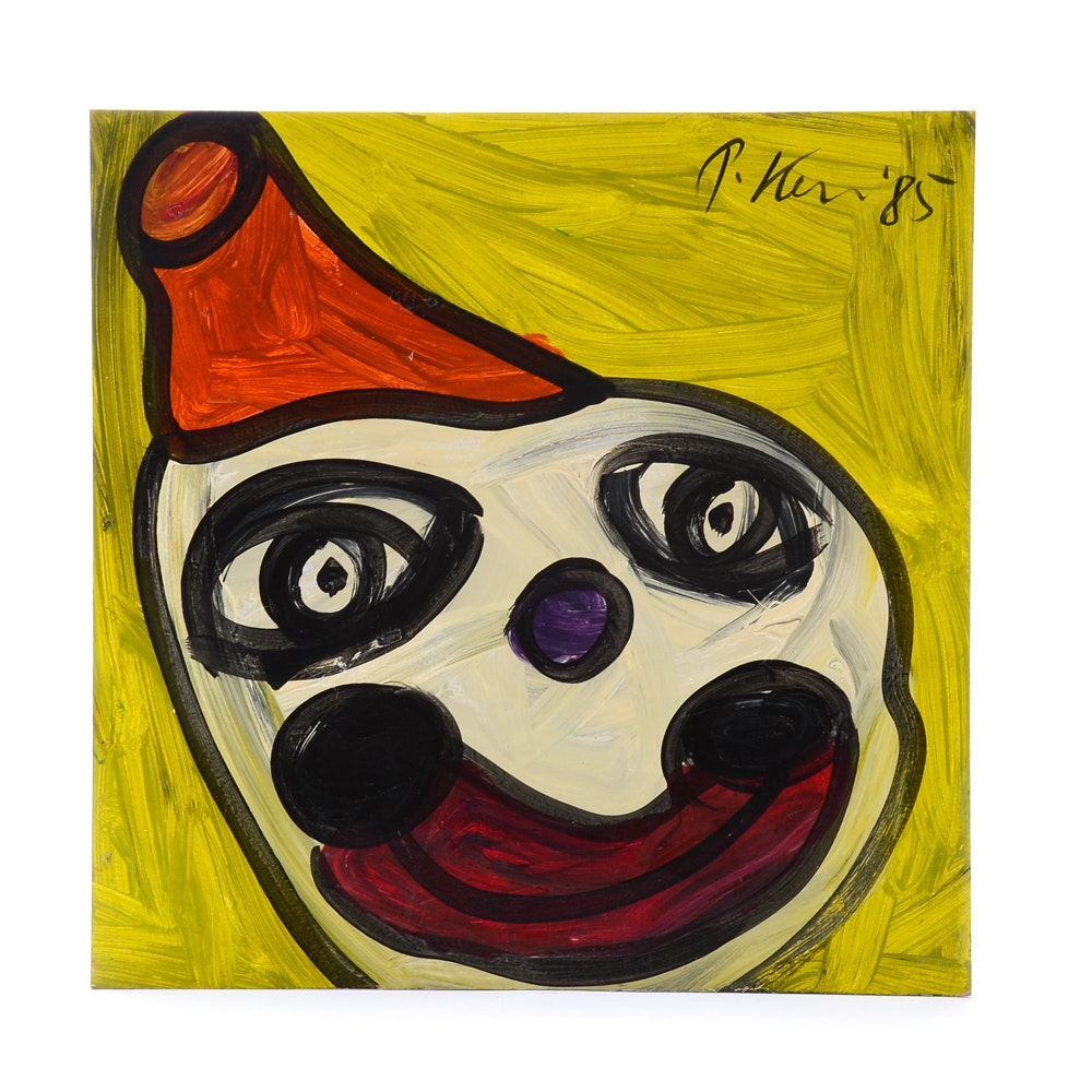 "Peter Keil 1985 Oil on Masonite ""Lucky Clown"""