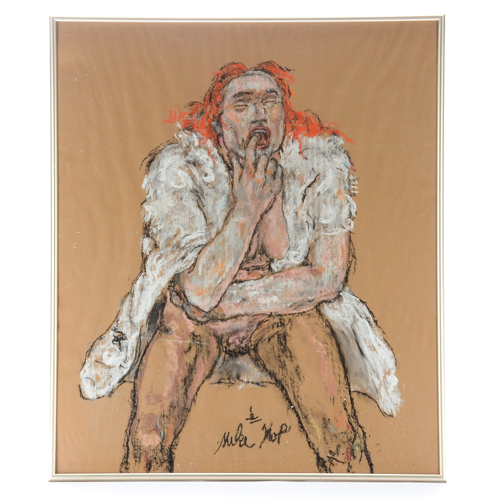 Michael Skop Original Pastel Drawing of Seated Woman