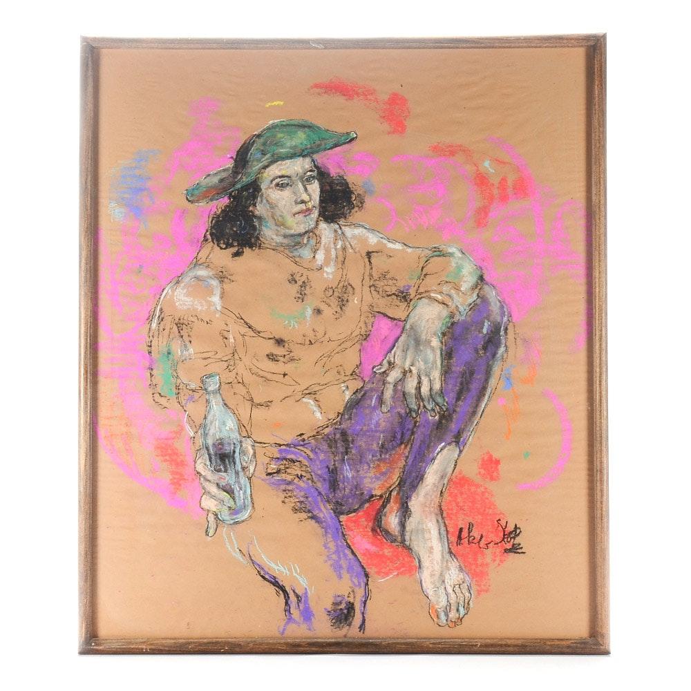 Michael Skop Original Pastel Drawing of Seated Figure