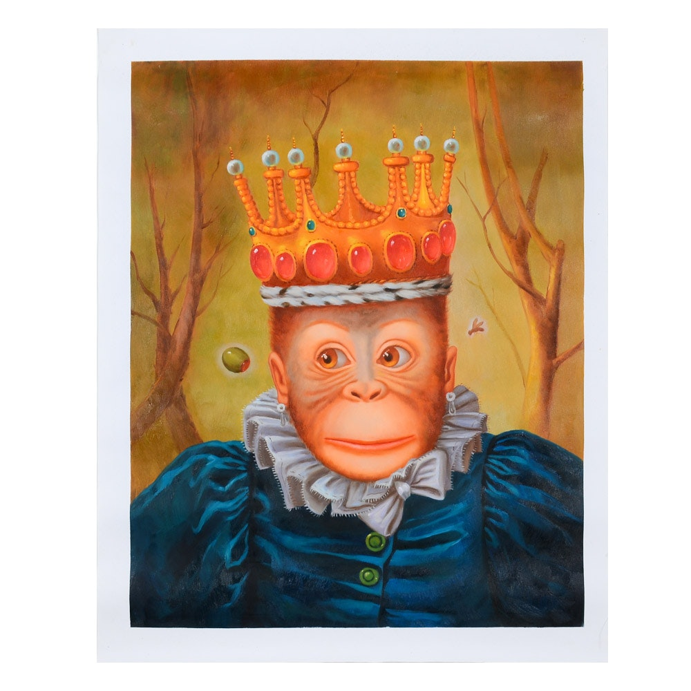 Mixed Media Painting on Canvas of Anthropomorphic Royal Monkey