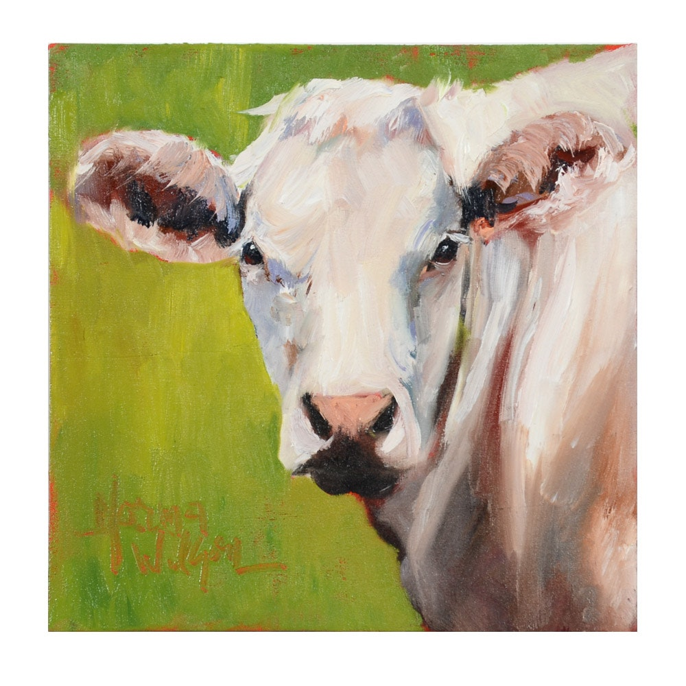 Norma Wilson Original Oil Painting on Canvas of a Cow