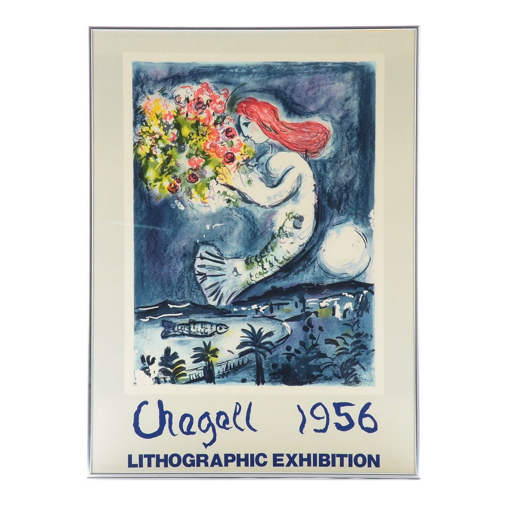 Marc Chagall 1956 Lithographic Exhibition Poster