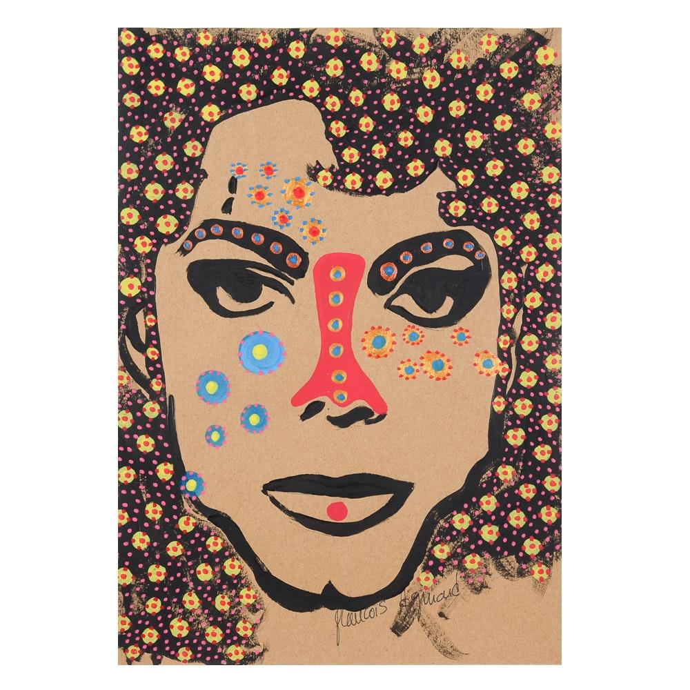 "Francois Aguiard Original Acrylic Painting on Paper ""Michael Jackson"""