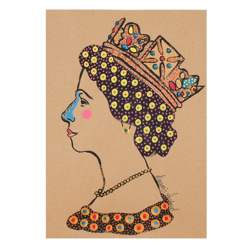 "Francois Aguiard Original Acrylic Painting on Paper ""Reine Isabel II"""