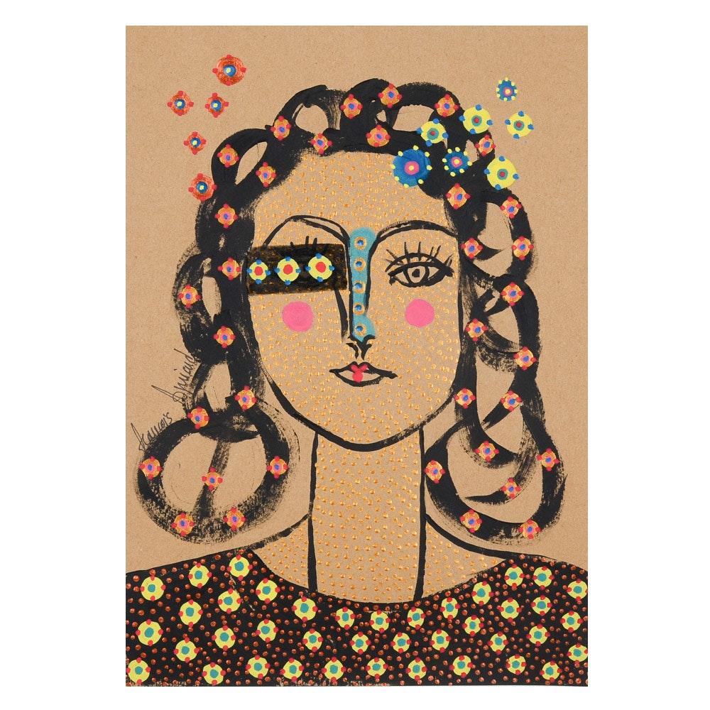 "Francois Aguiard Original Acrylic Painting on Paper ""Francoise Gilot Picasso"""