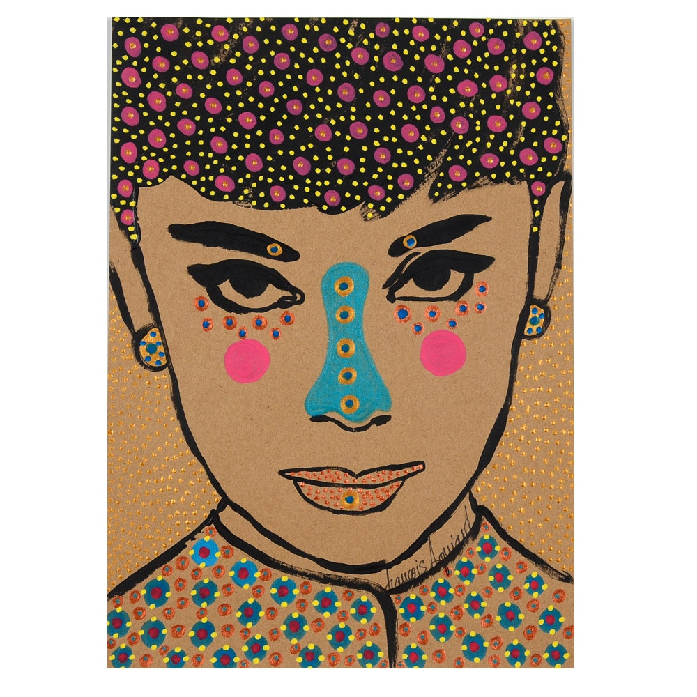 "Francois Aguiard Original Acrylic Painting on Paper ""Audrey Hepburn"""