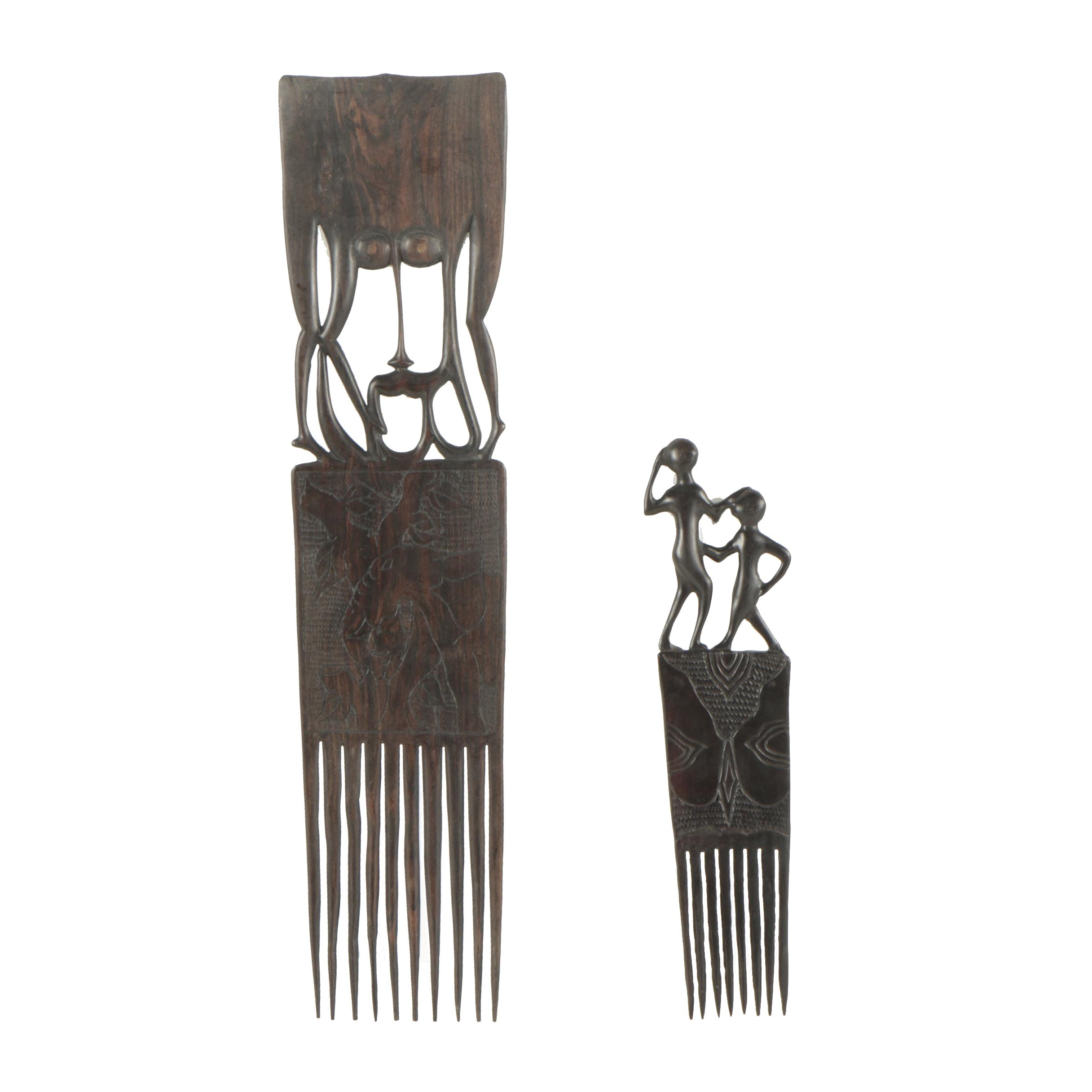 East African Style Carved Wood Combs