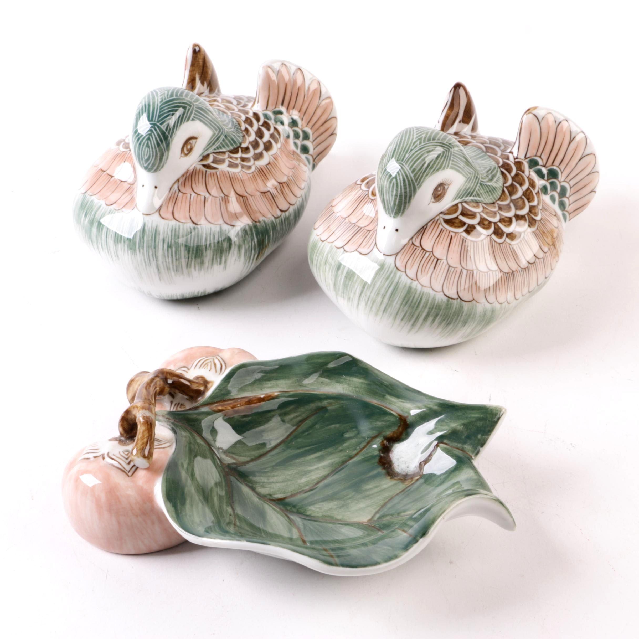 Hand-Painted Ceramic Duck Figurines and Cherry Dish